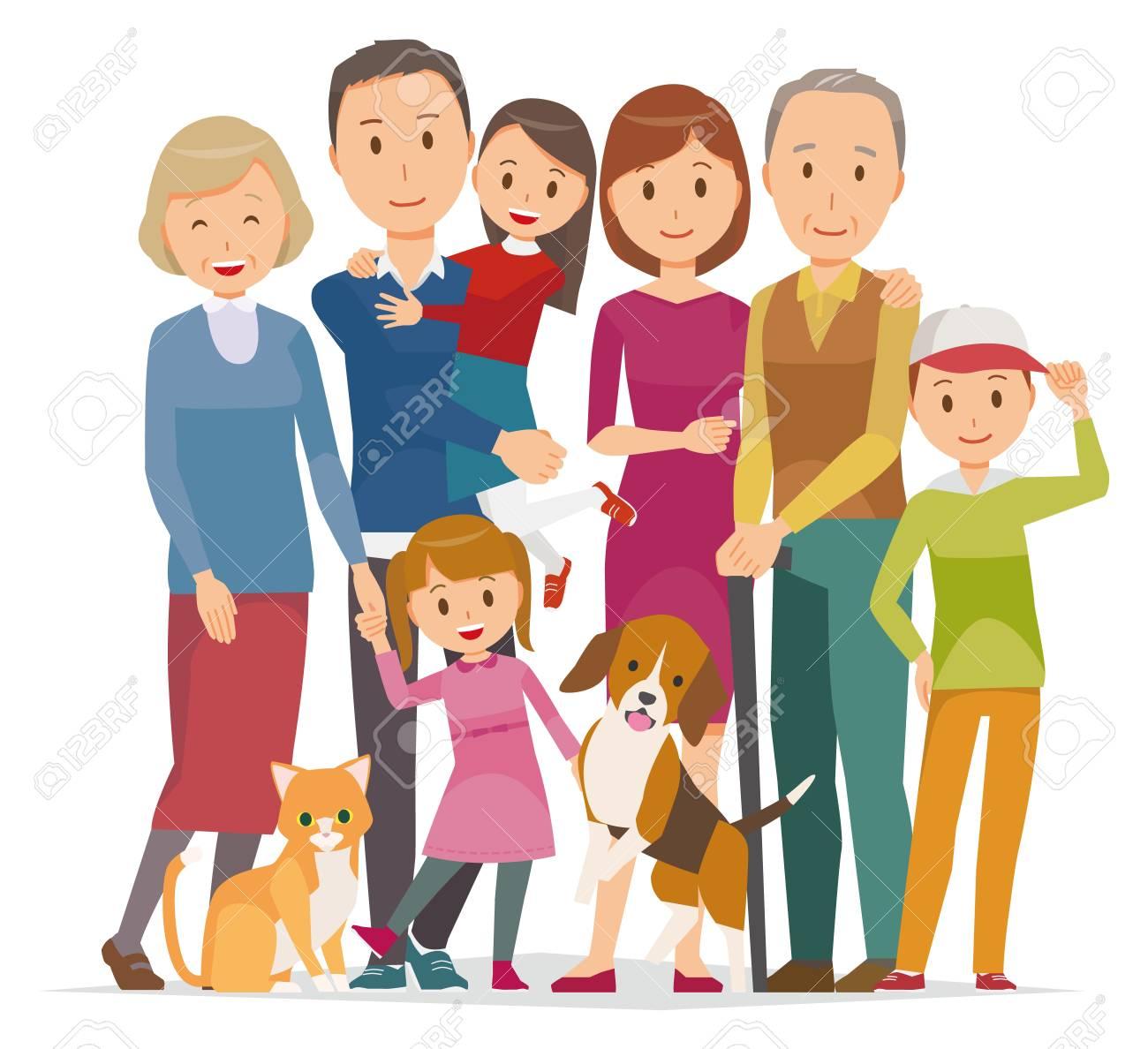 家族 3 世代と冬のペットの 7 人のイラストのイラスト素材ベクタ