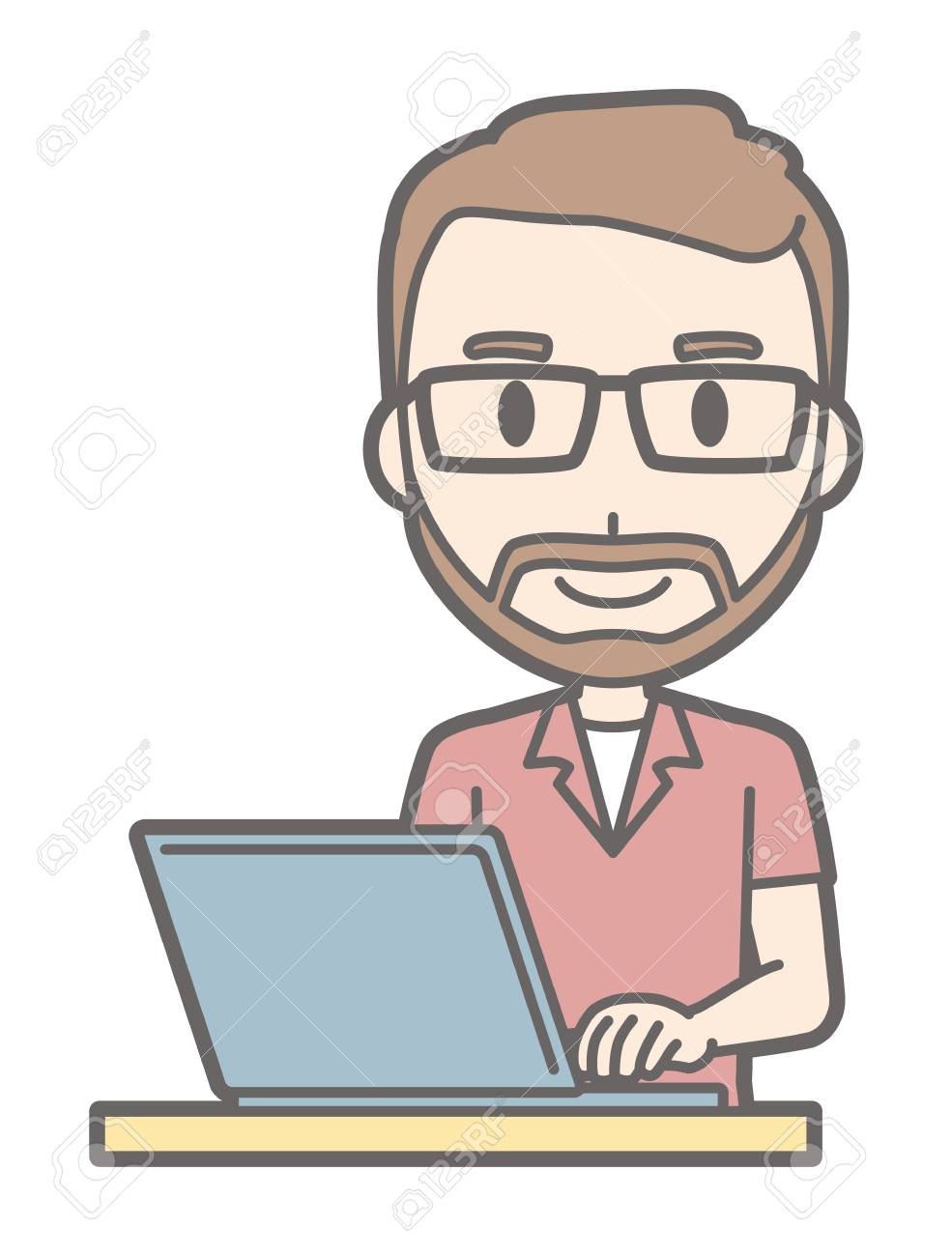 A man who wears eyeglasses and has a beard is operating a laptop computer - 92779490