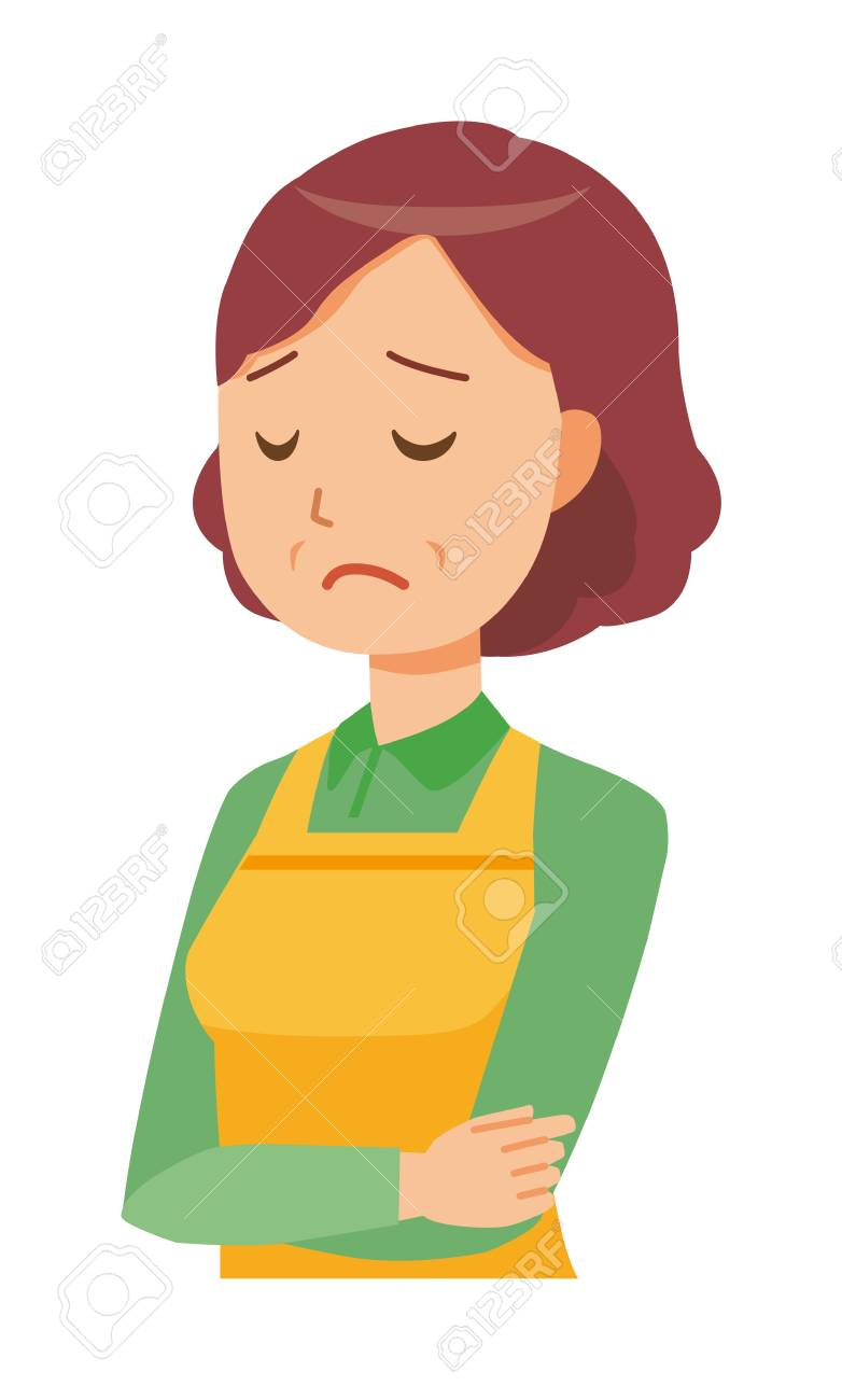 A middle-aged housewife wearing an apron is depressed - 97353748