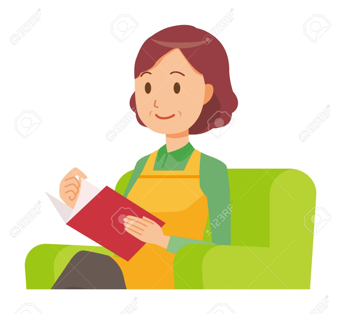 A middle-aged housewife wearing an apron is reading on a sofa - 97317341