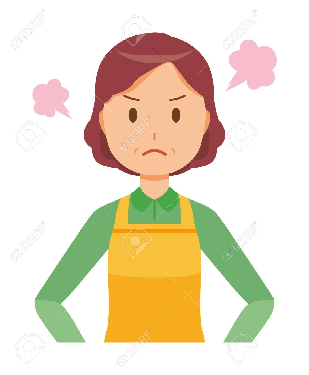 A middle-aged housewife wearing an apron is angry - 97332645