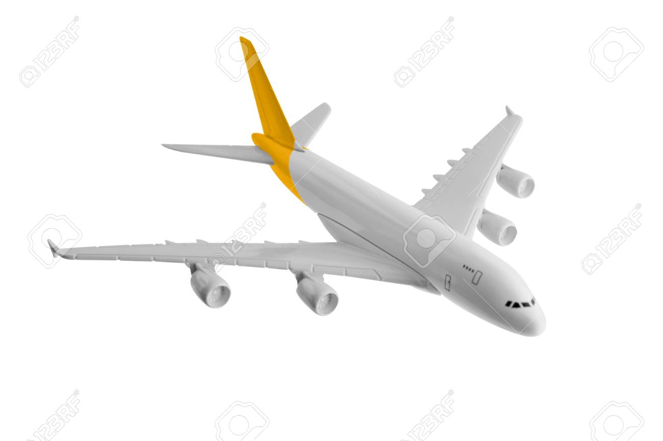 Avión Con Color Amarillo, Aislado Sobre Fondo Blanco. Fotos ...