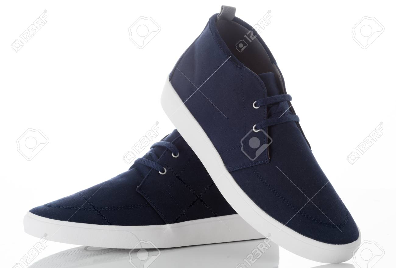 b639aeb707a Pair Of Blue Fashion Men s Shoes With Side View Profile