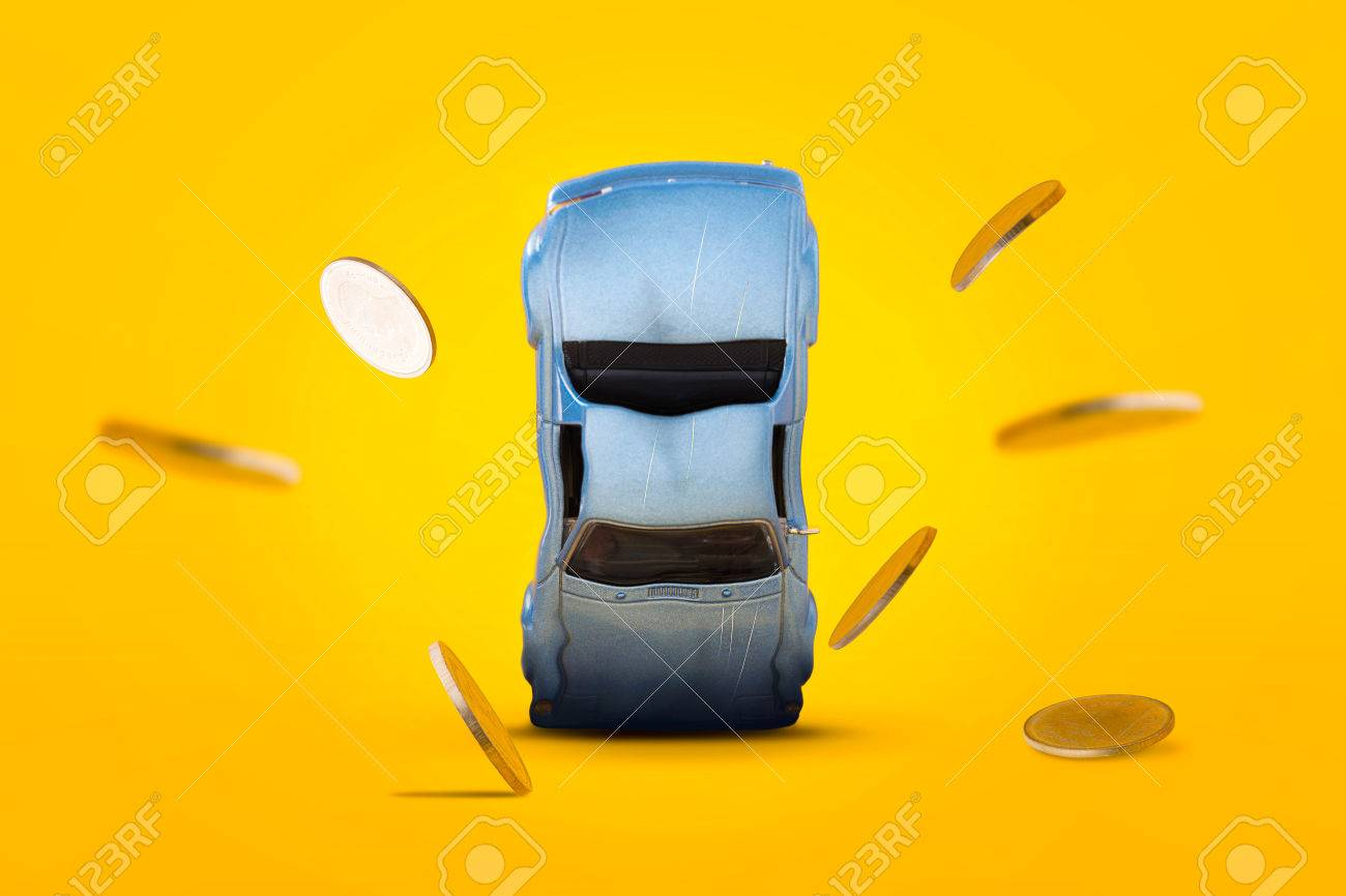 Autounfall Mit Schaden Und Goldmünzen Fallen Und Explosion Szene ...