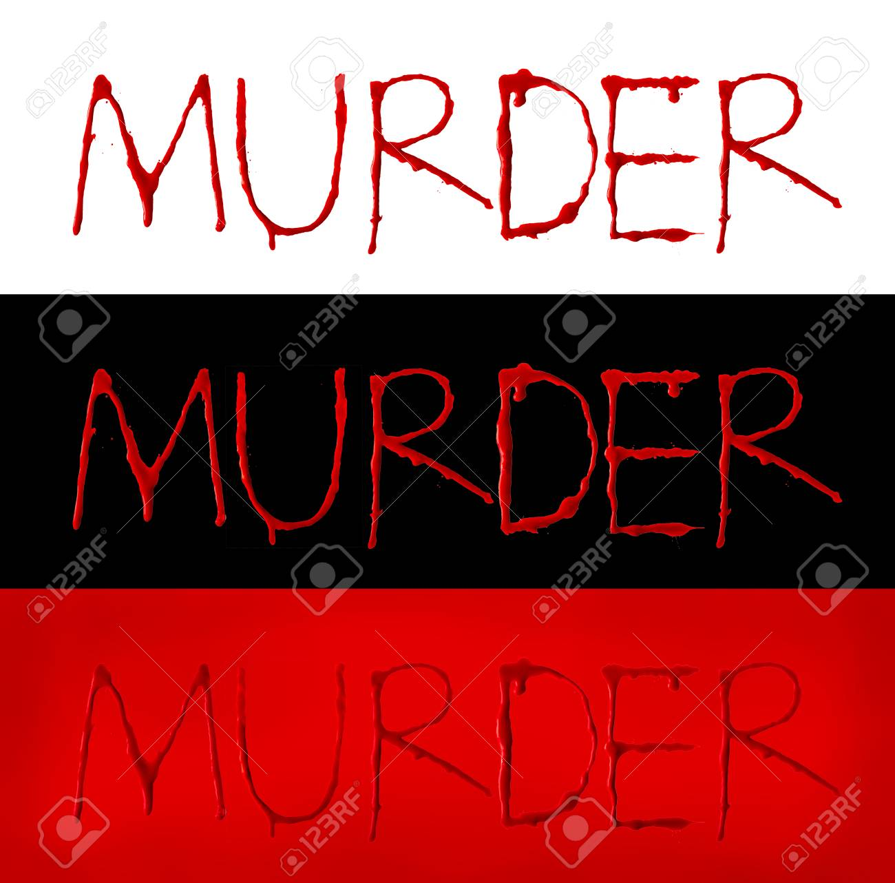 """Stock Photo - Collection of letters blood written dripping fonts """"MURDER"""" with clipping path, Horror and emergency concept, Isolated on white, black and red ..."""
