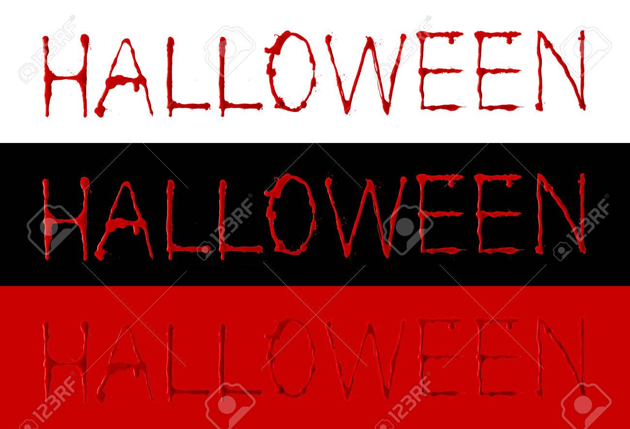 """Stock Photo - Collection of letters blood written dripping fonts """"HALLOWEEN"""" with clipping path, Horror and emergency concept, Isolated on white, ..."""
