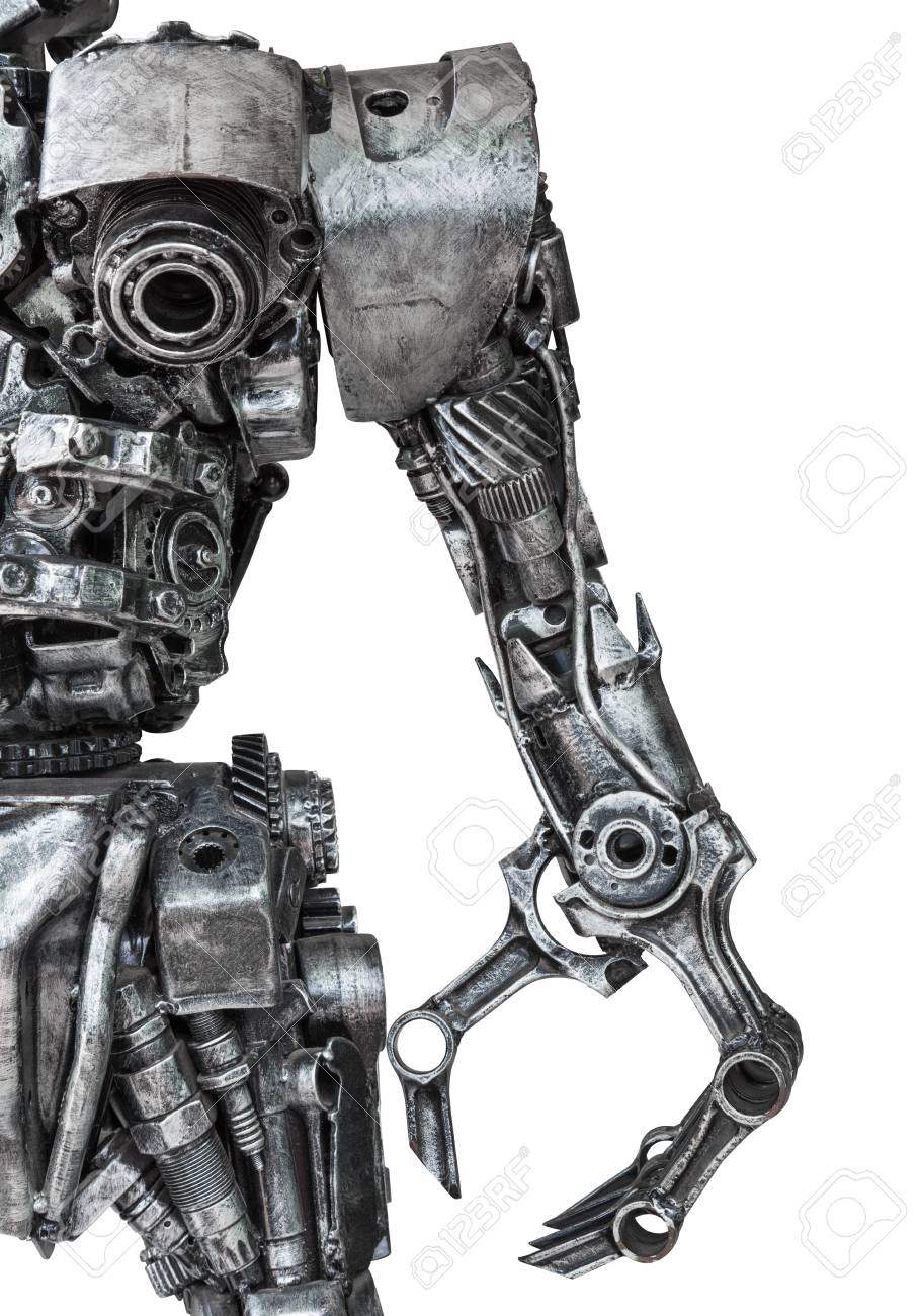 Closeup Body of metallic robot made from auto parts with machinery