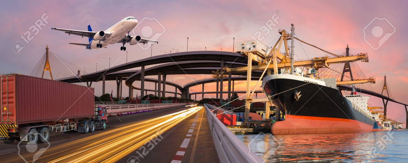 Panorama transport and logistic concept by truck boat plane for logistic Import export background - 74713103
