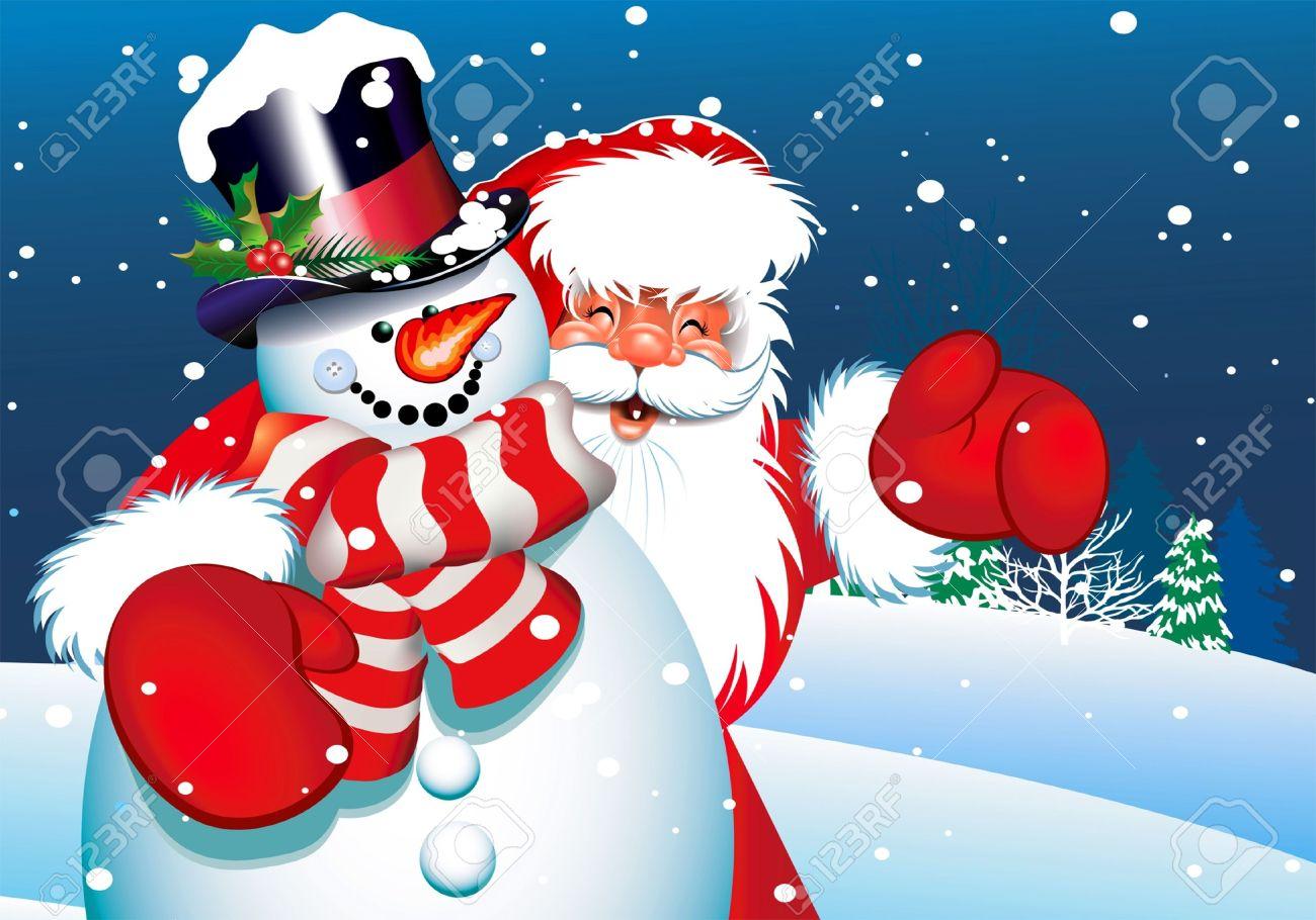 santa and snowman stock vector 11085190 - Santa And Snowman