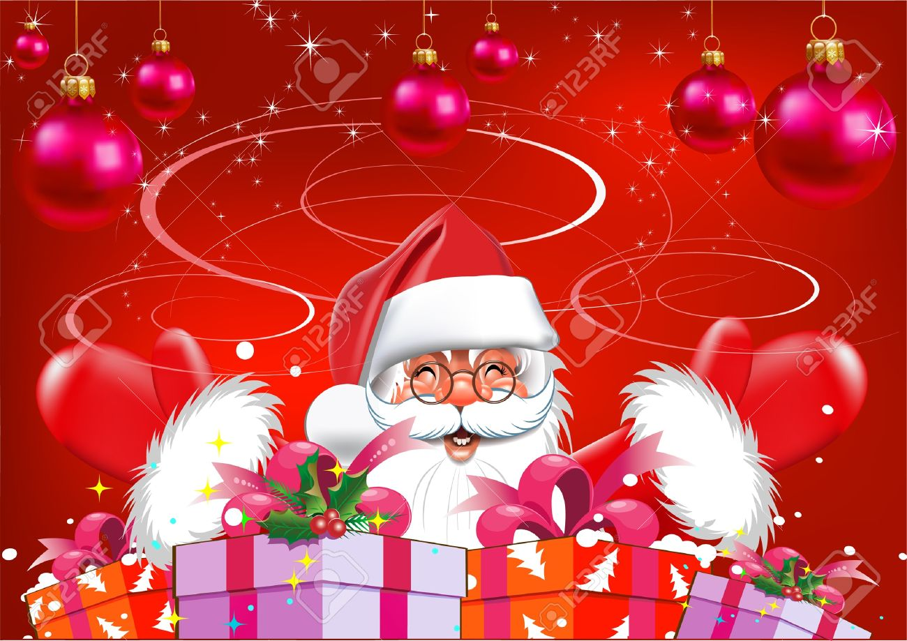 christmas santa claus with gifts red background royalty free