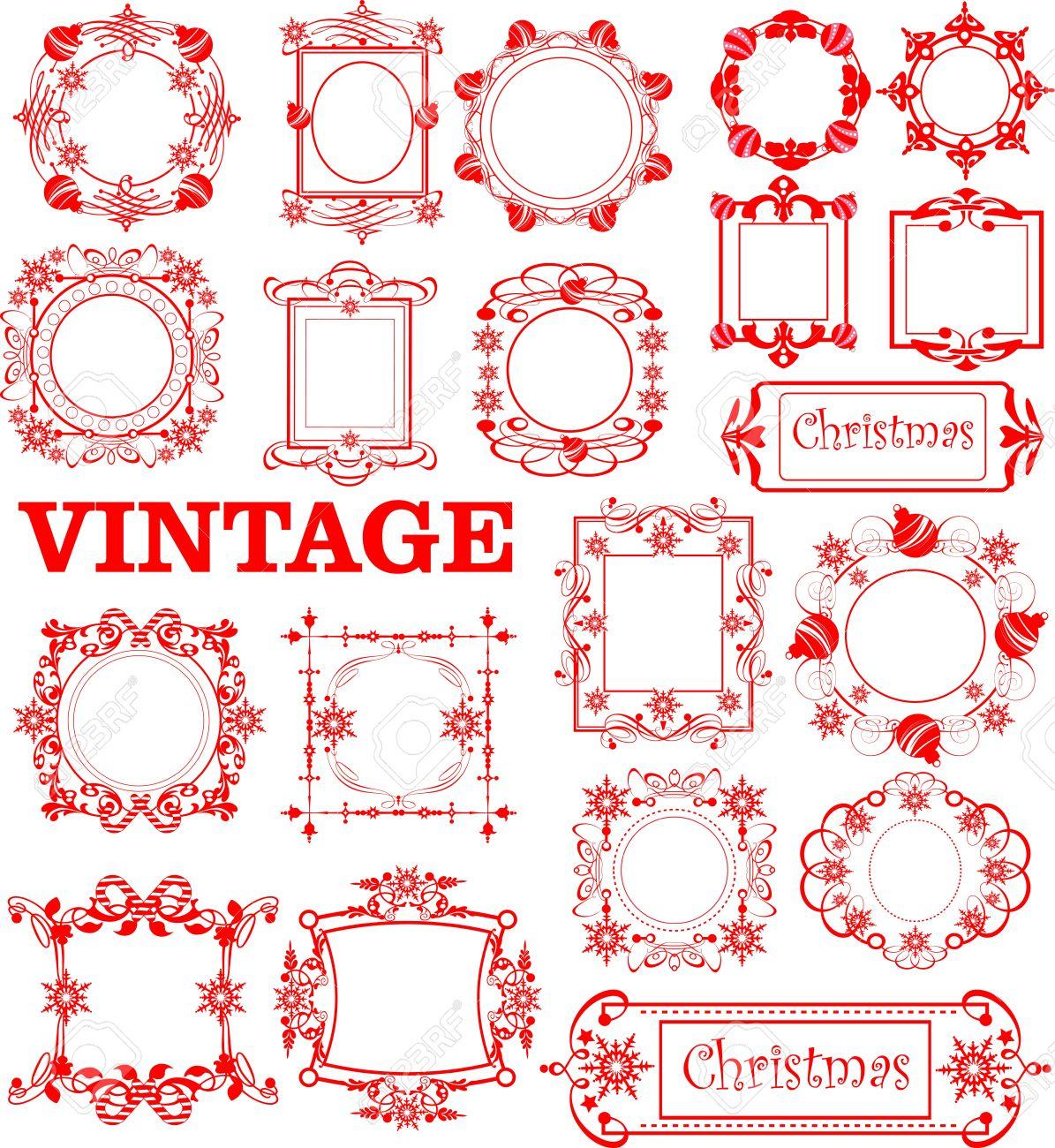 Navidad. Caligrafía. Conjunto De Marcos Vintage. Ilustraciones ...