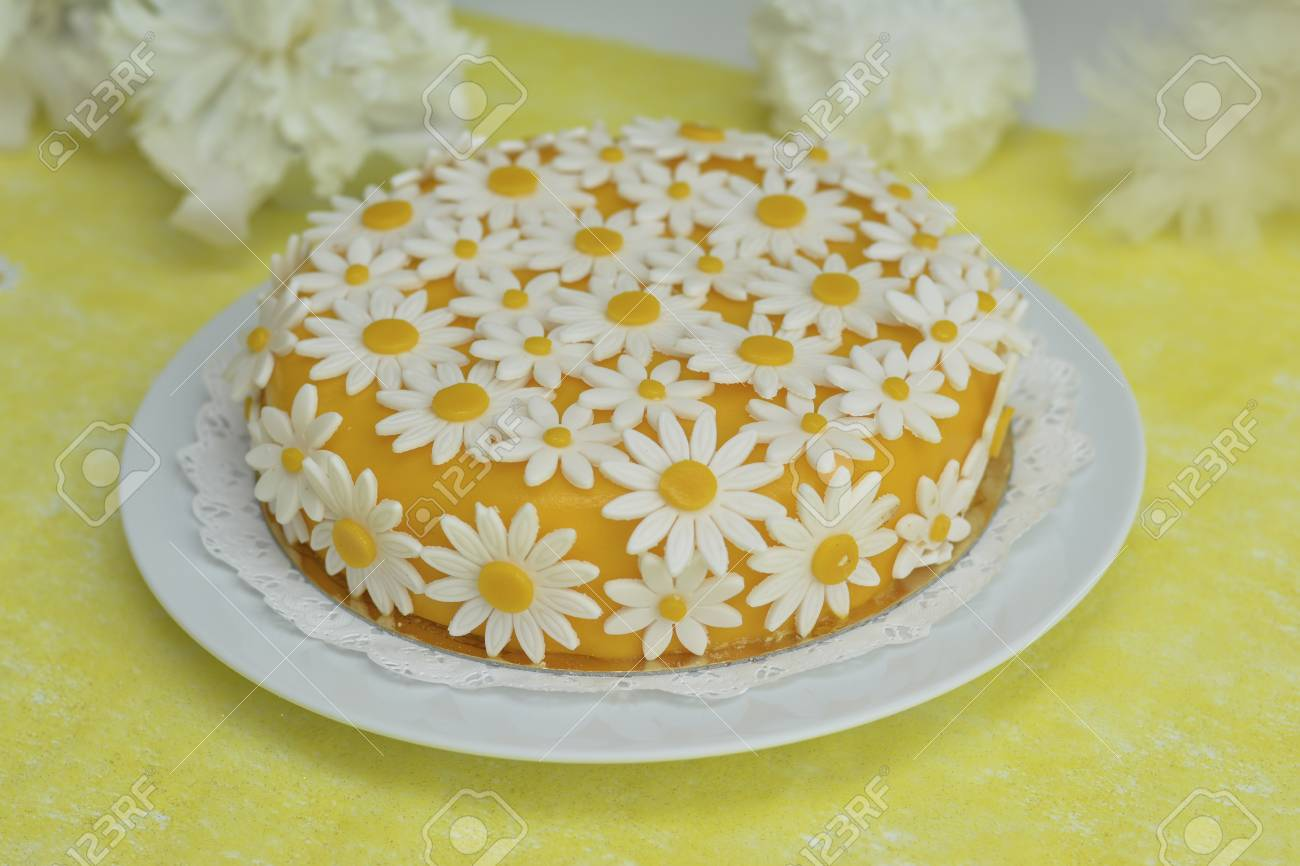 Yellow Cake With Daisy Flowers Chamomile For Birthday Stock Photo Picture And Royalty Free Image Image 92761460