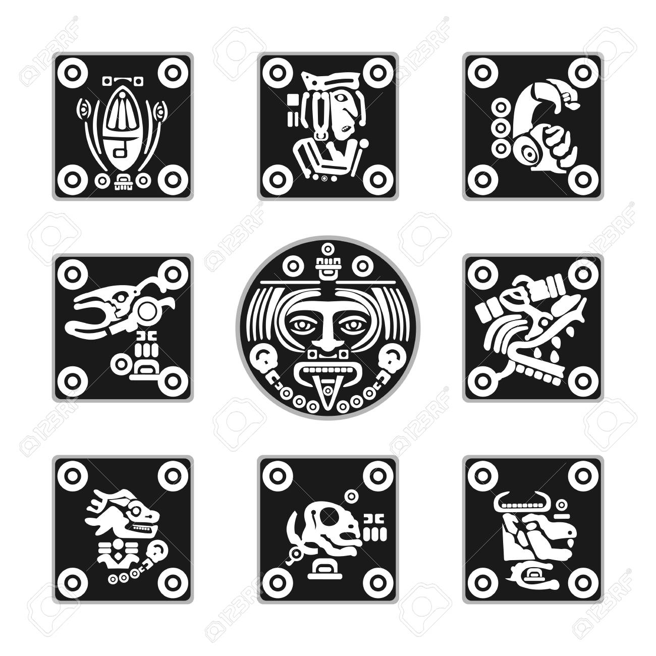 set of flat Aztec ornament icons in vector format - 102033707