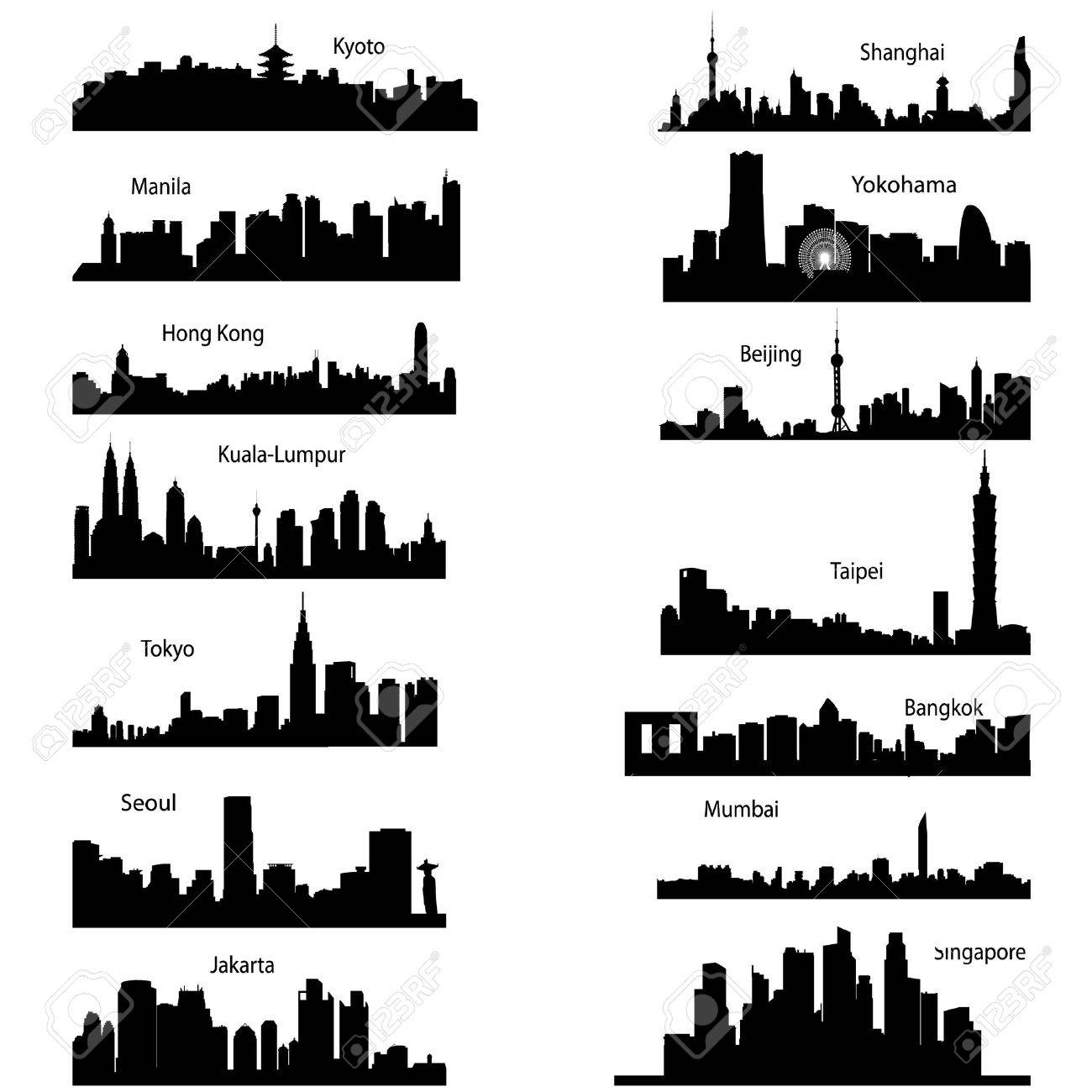 Detailed vector silhouettes of Asian cities Stock Vector - 5777223