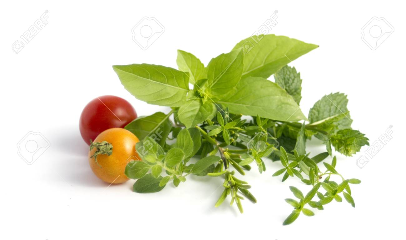 various herbs and cherry tomatoes isolated on white Stock Photo - 7845932