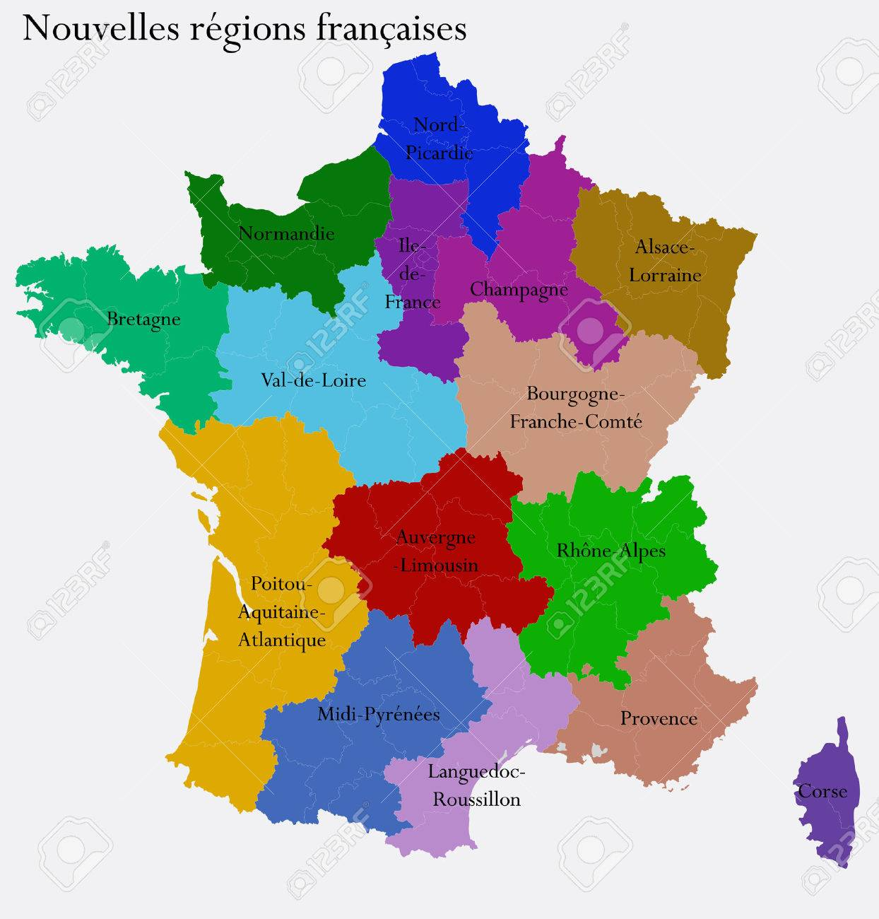 New french regions nouvelles regions de france separated departments new french regions nouvelles regions de france separated departments stock photo 26861762 gumiabroncs Images