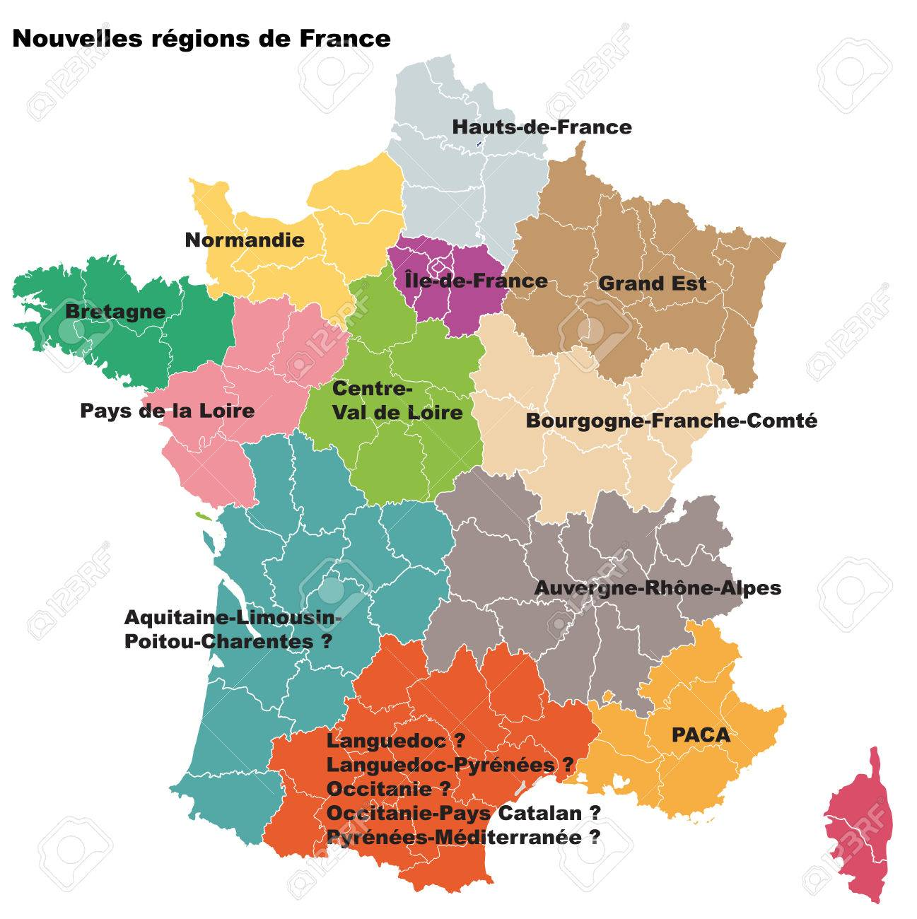 Map Of France New Regions.New French Regions Nouvelles Regions De France Separated Departments