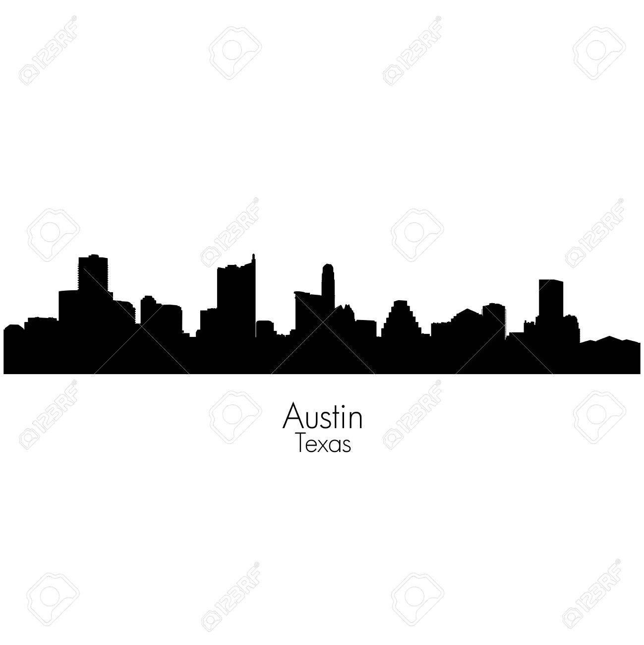 austin city capital of texas black vector silhouette skyline stock vector 64605357