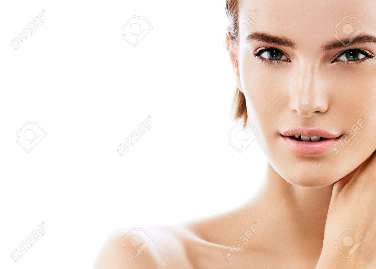 Beauty Woman face Portrait. Beautiful model Girl with Perfect Fresh Clean Skin color lips purple red. Blonde brunette short hair Youth and Skin Care Concept. Isolated on a white background - 63467855