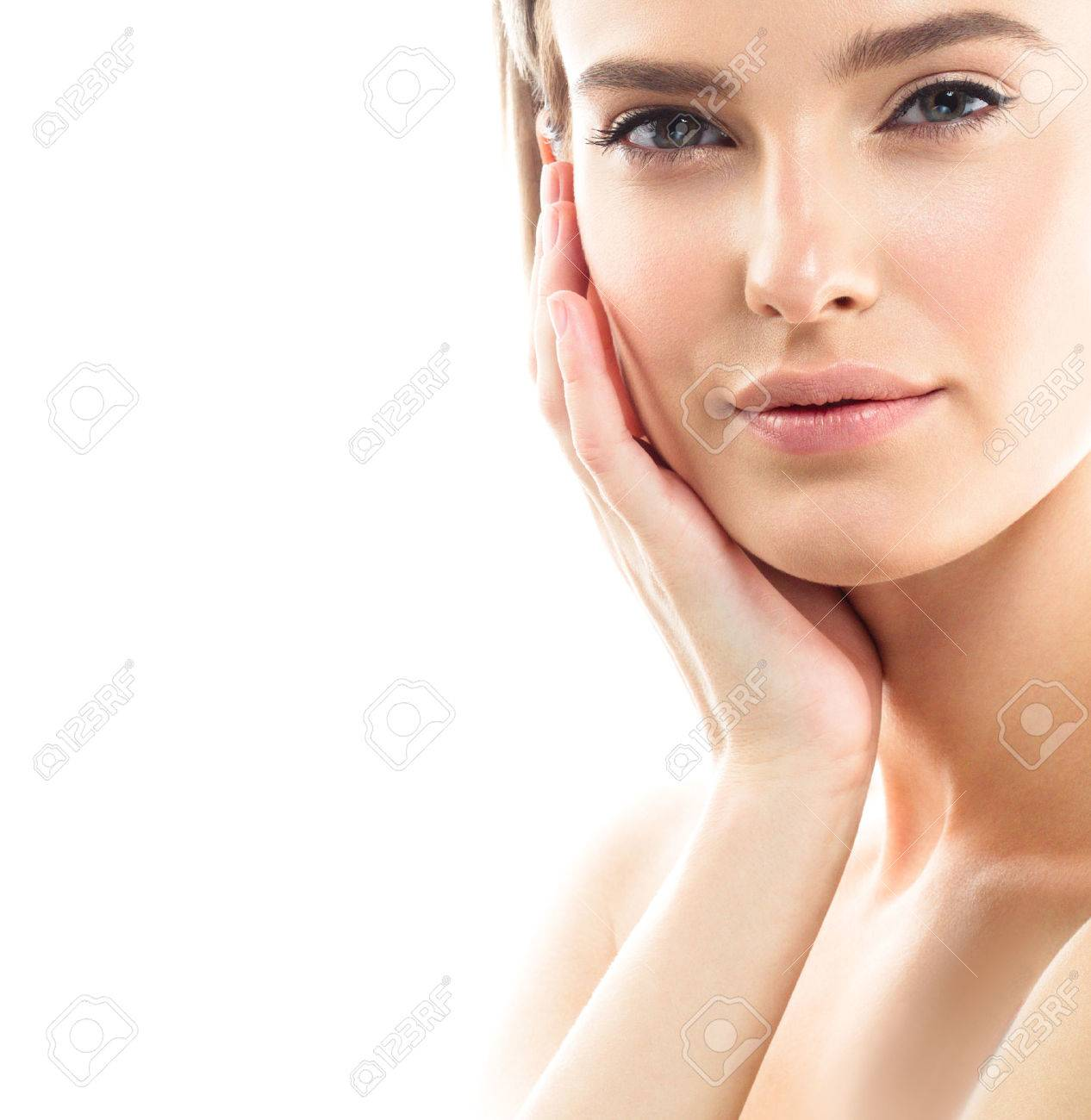 Beauty Woman face Portrait. Beautiful model Girl with Perfect Fresh Clean Skin color lips purple red. Blonde brunette short hair Youth and Skin Care Concept. Isolated on a white background - 63510008