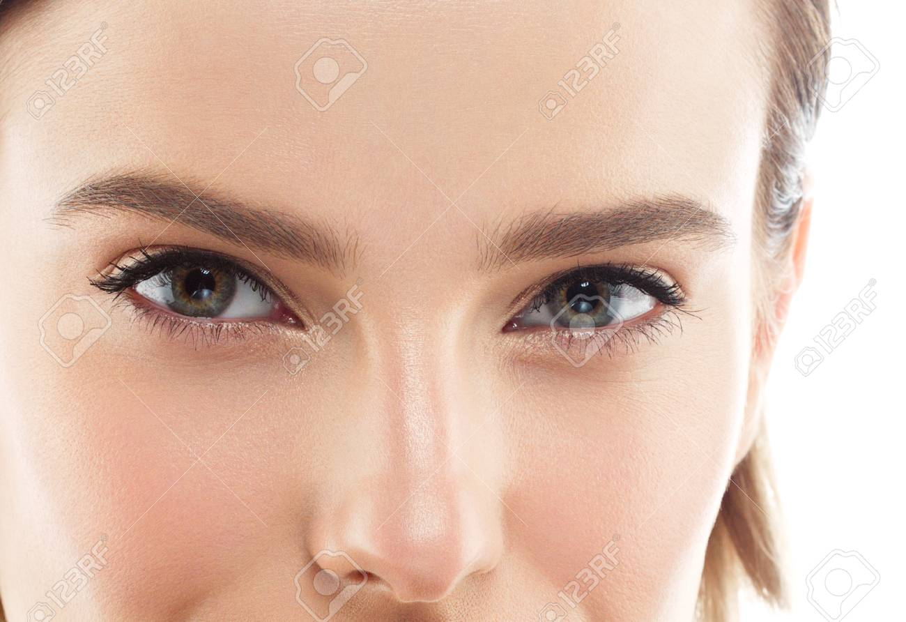 Eye woman eyebrow eyes lashes. Isolated on white. Close up view. - 66201844