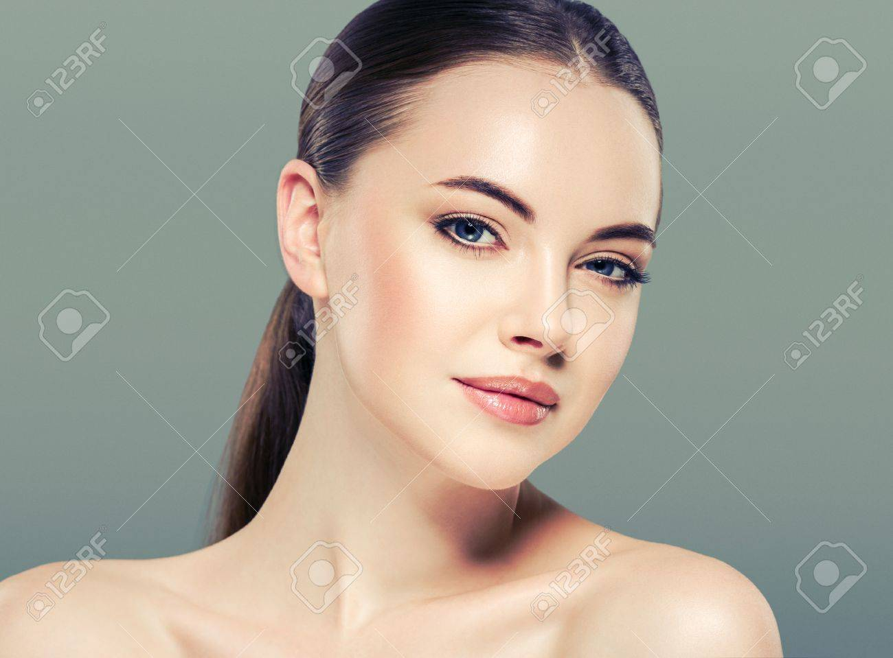 Woman beauty portrait isolated on white skin care concept on blue background - 66087859