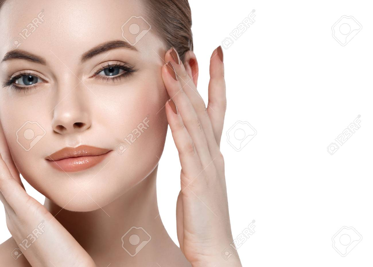 Woman beauty portrait isolated on white close up female face. Studio shot. - 65881832