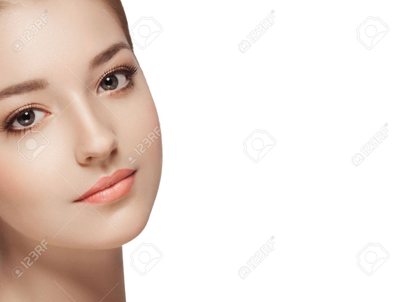 Beauty Woman face Portrait. Isolated white background - 62414630