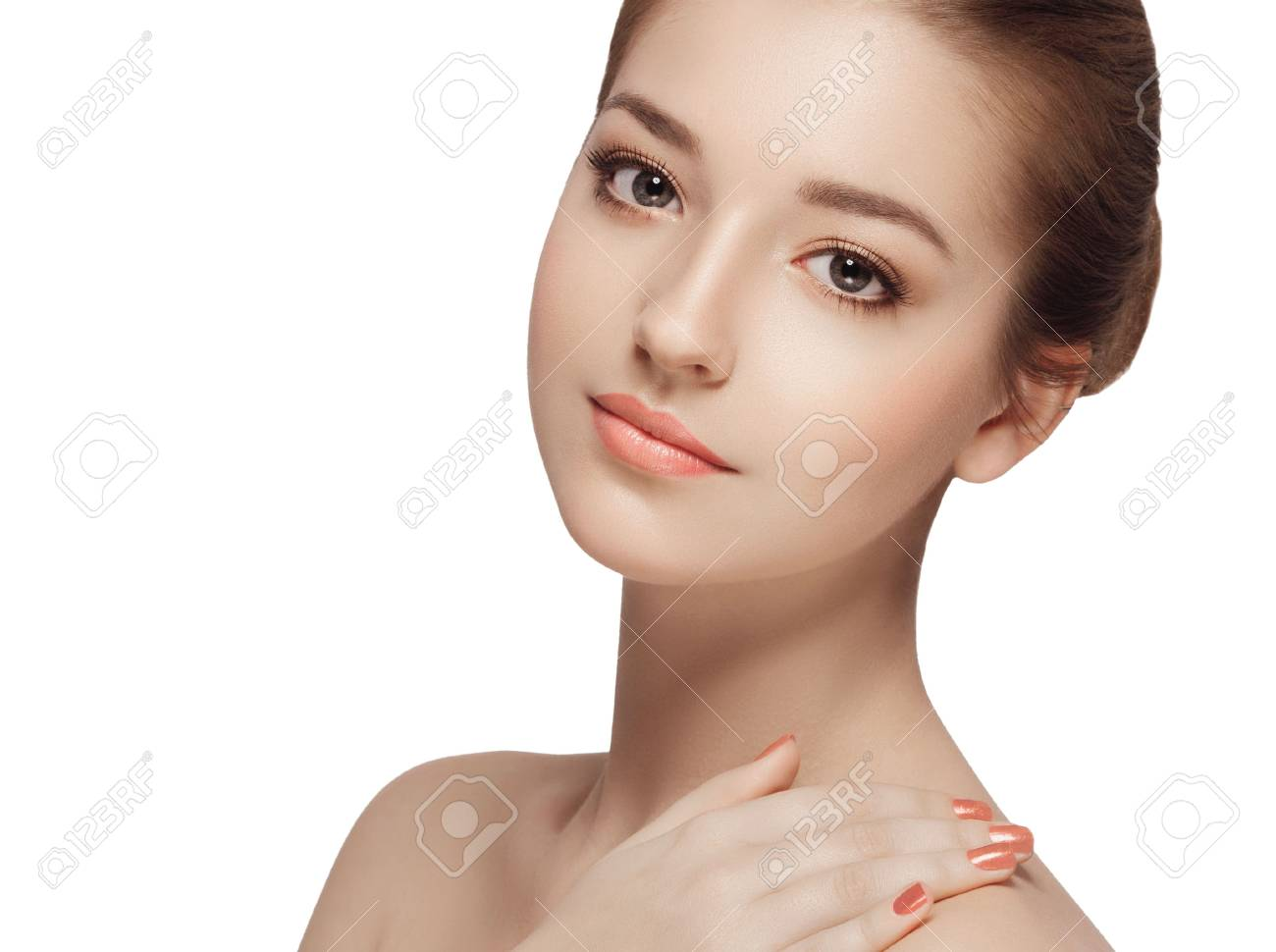 Beauty Woman face Portrait. Isolated white background - 63640049