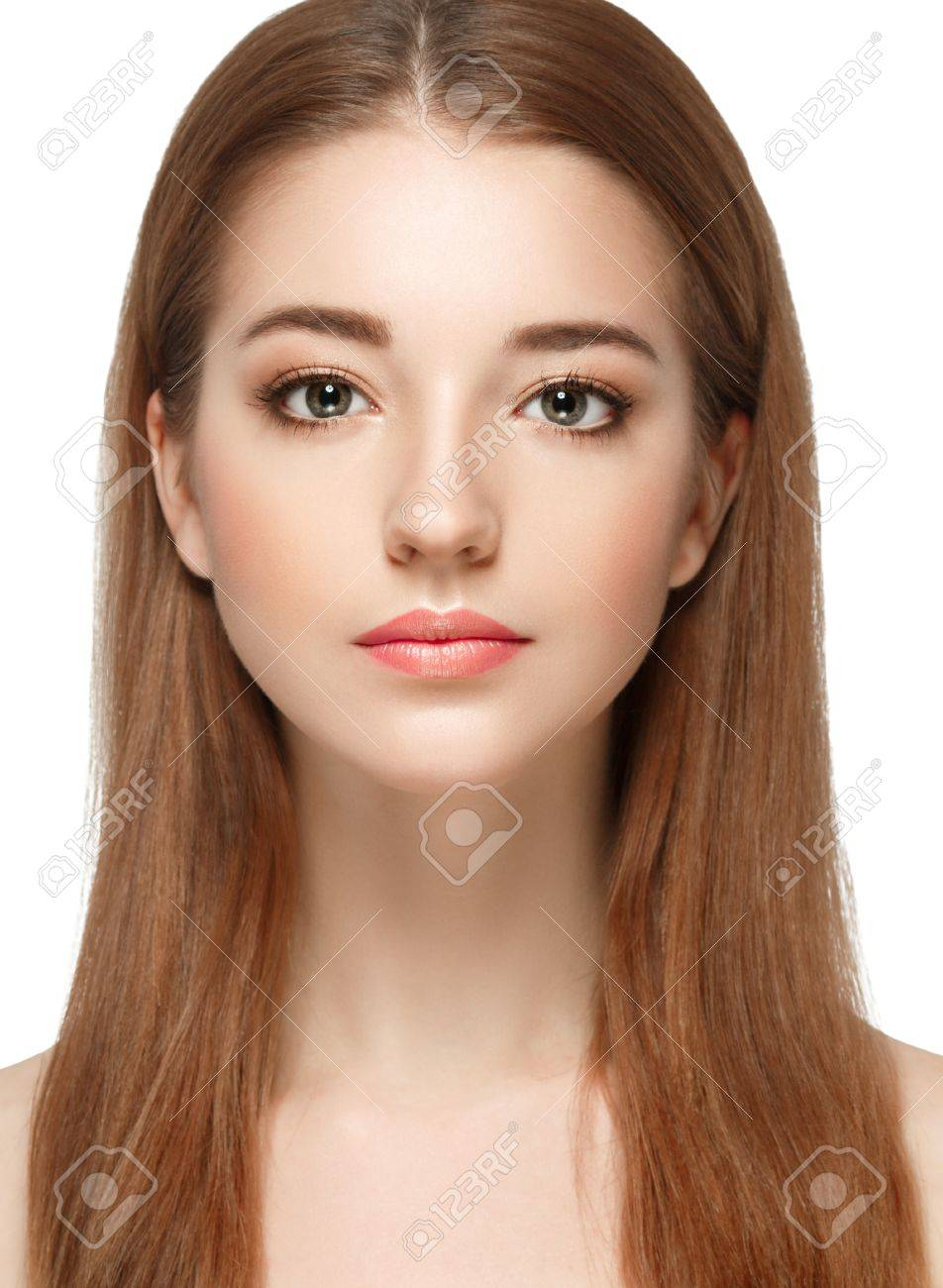 Beautiful woman face close up portrait young. Isolated on white. Studio shot. - 63639402