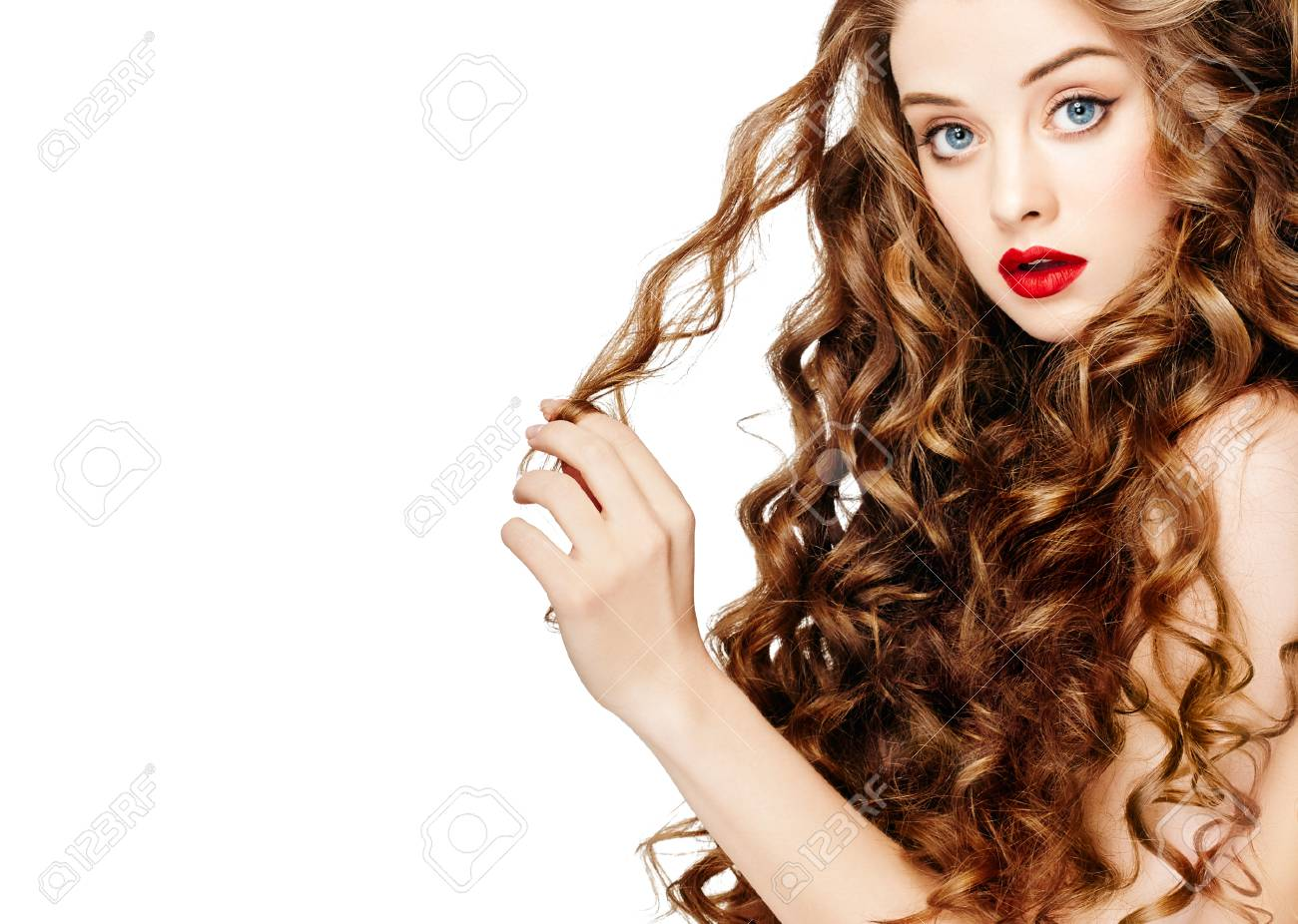 Beautiful People Curly Hair Red Lipsq Fashion Girl With Healthy