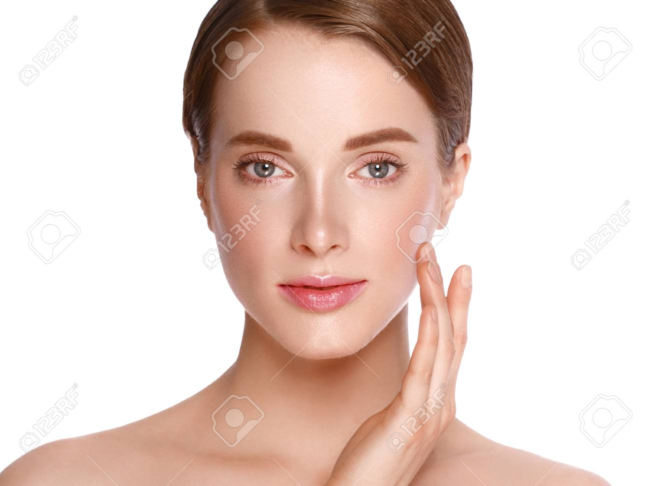 Beauty Woman face with hand Portrait. Beautiful model Girl with Perfect Fresh Clean Skin color lips purple red. Blonde brunette short hair Youth and Skin Care Concept. Isolated on a white background - 79665210