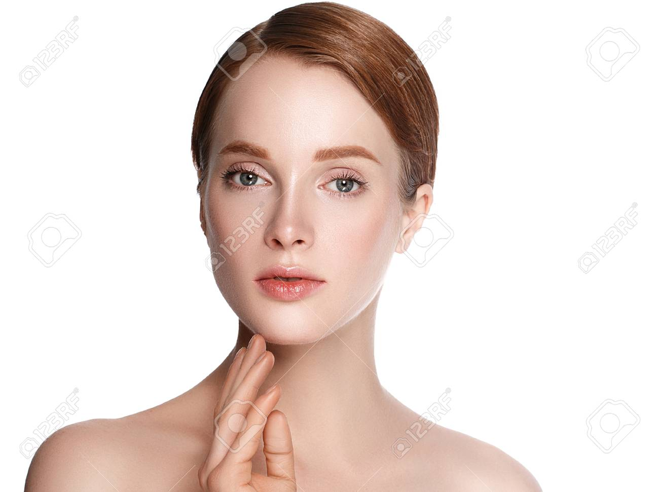 Beauty Woman face with hand Portrait. Beautiful model Girl with Perfect Fresh Clean Skin color lips purple red. Blonde brunette short hair Youth and Skin Care Concept. Isolated on a white background - 79637990