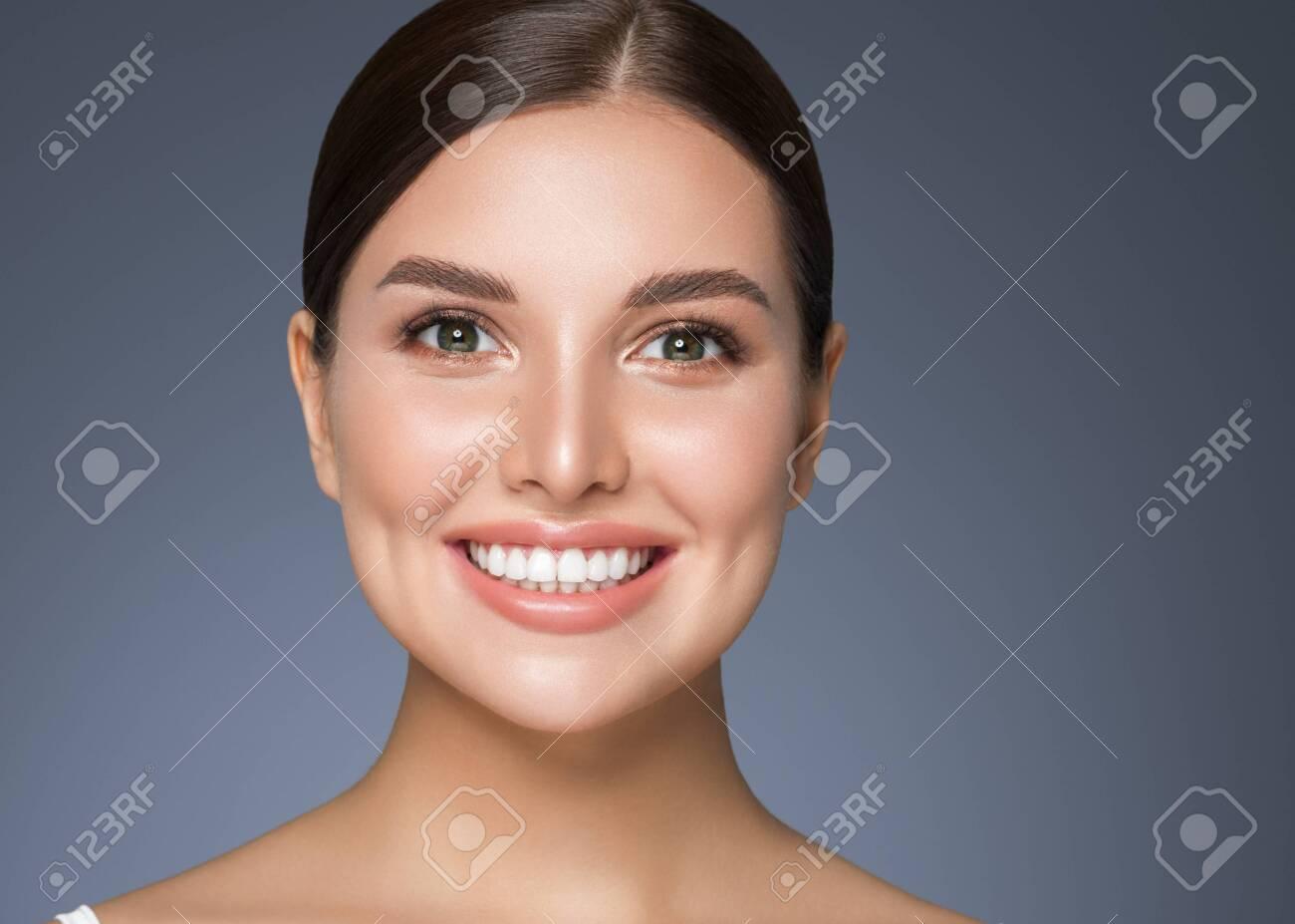 Beauty woman healthy teeth smile healthy beautiful skin model face skin care happy female - 144045244