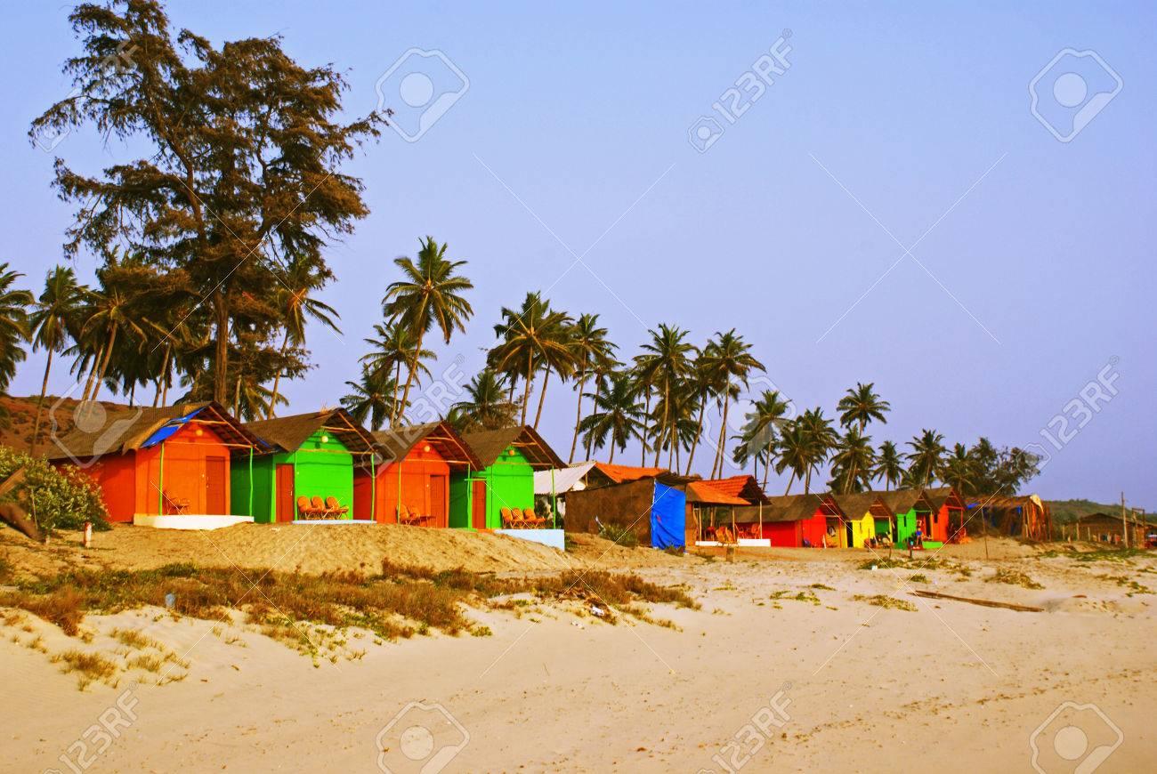 Colourful bungalows on a beach in goa india stock photo 35113351