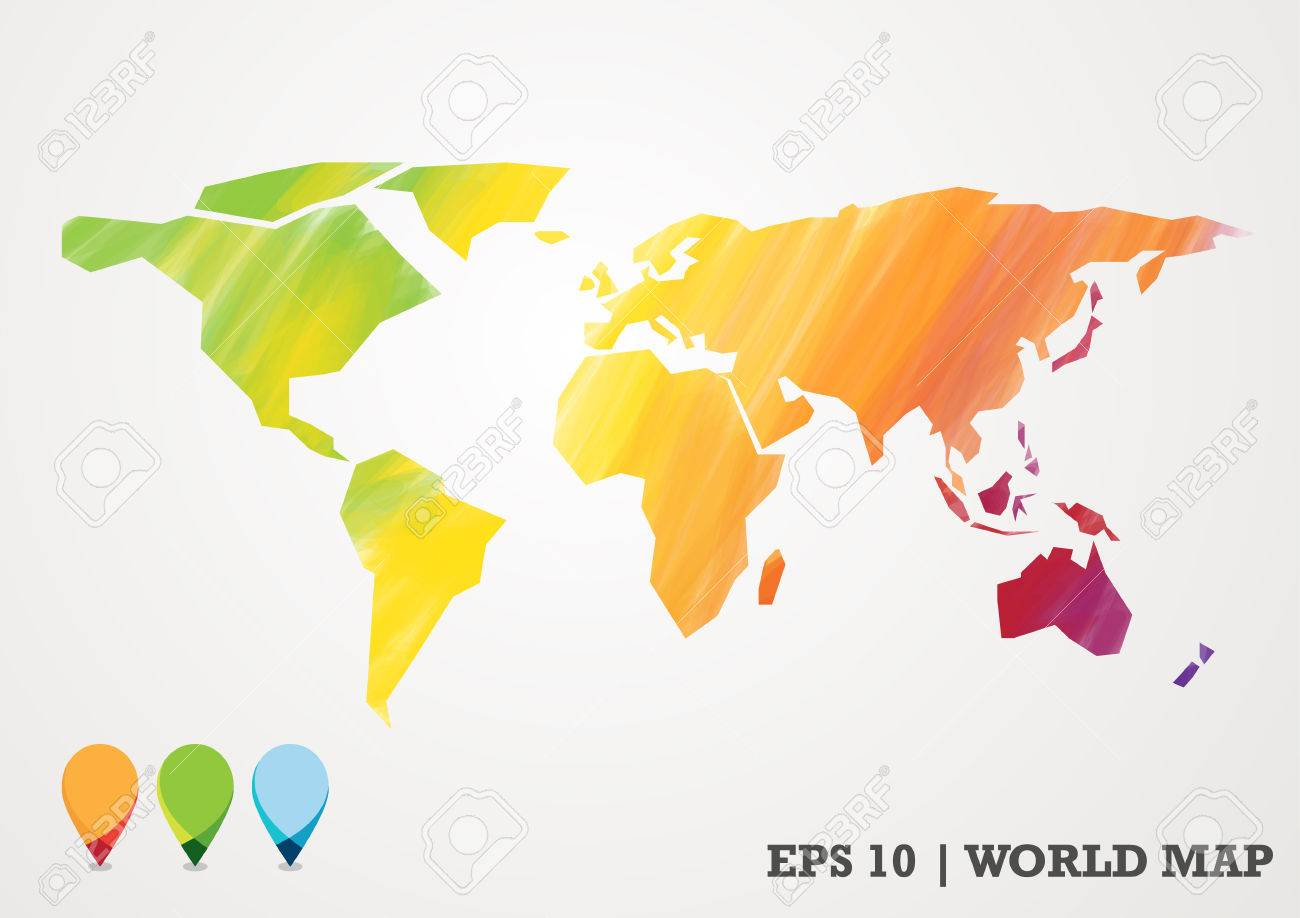 Colorful paper cut world map water color abstract with pin royalty colorful paper cut world map water color abstract with pin stock vector 50911572 gumiabroncs Gallery