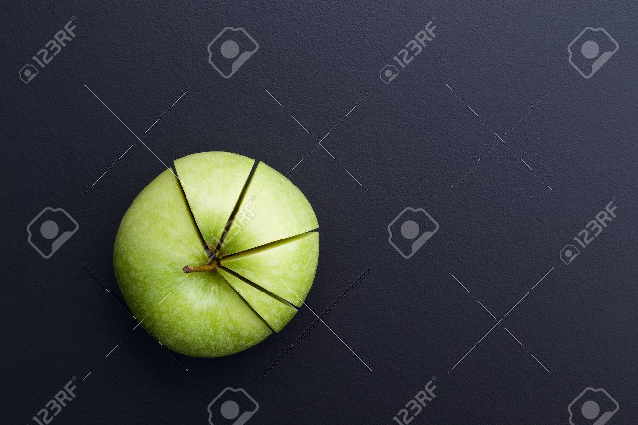 Green apple cutting in the shape of pie chart on back board stock green apple cutting in the shape of pie chart on back board stock photo 41650922 nvjuhfo Images