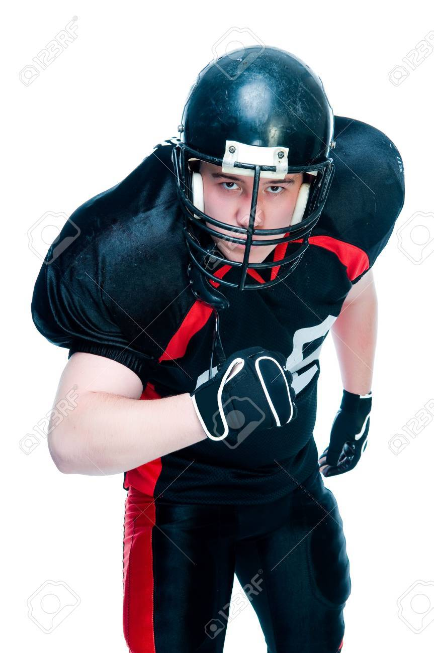 American football player in helmet, studio isolated Stock Photo - 4165892