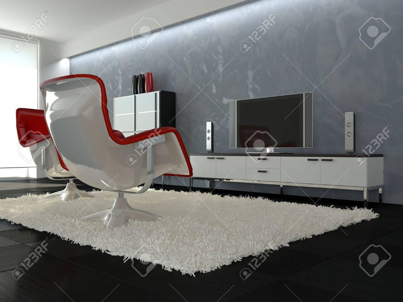 Modern interior mit keramischen boden weißen teppich red sessel