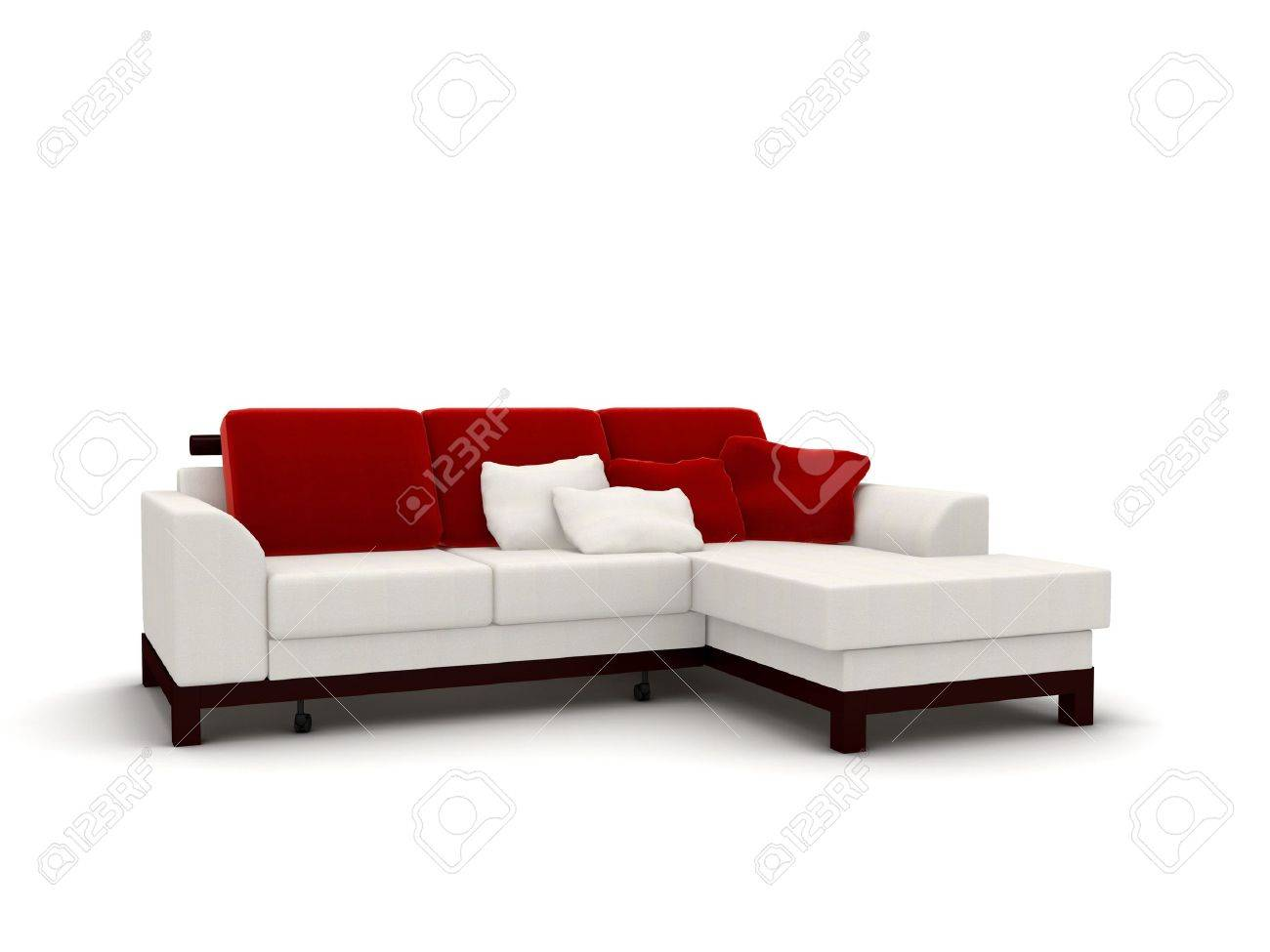 3d Rendering Isolated White Sofa With Red Pillows Stock Photo   5266006