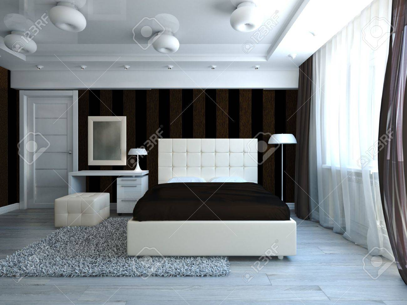 Moderne stijl slaapkamer interieur royalty vrije foto, plaatjes ...