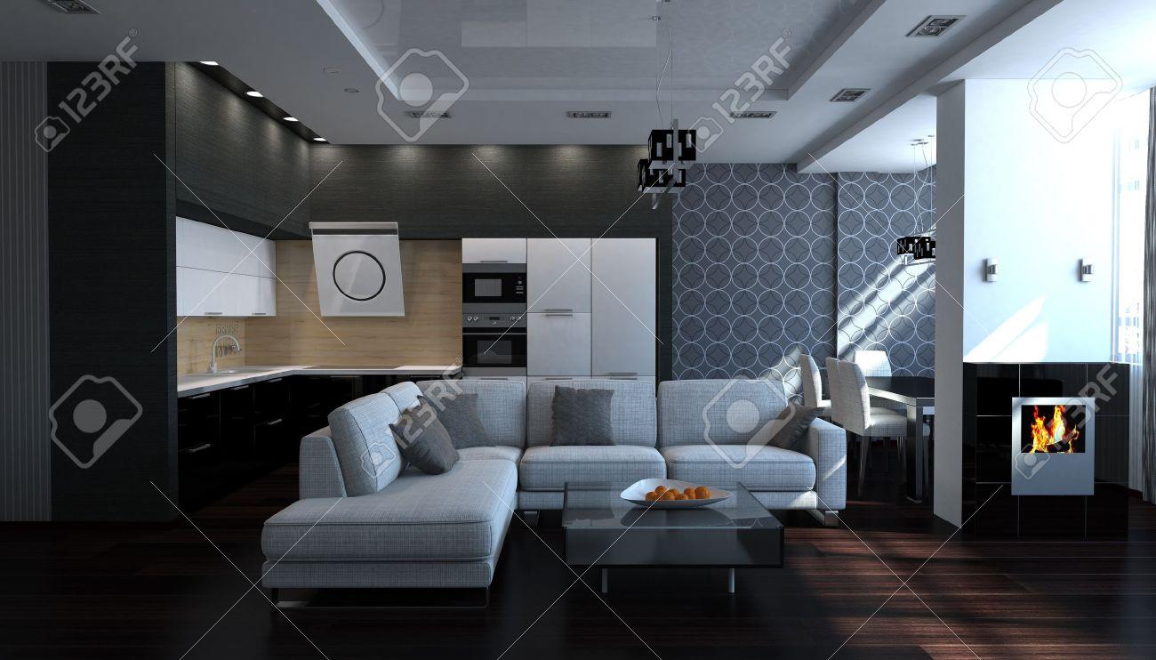 Moderne Zwart-wit Stijlvol Interieur Woonkamer Royalty-Vrije Foto ...