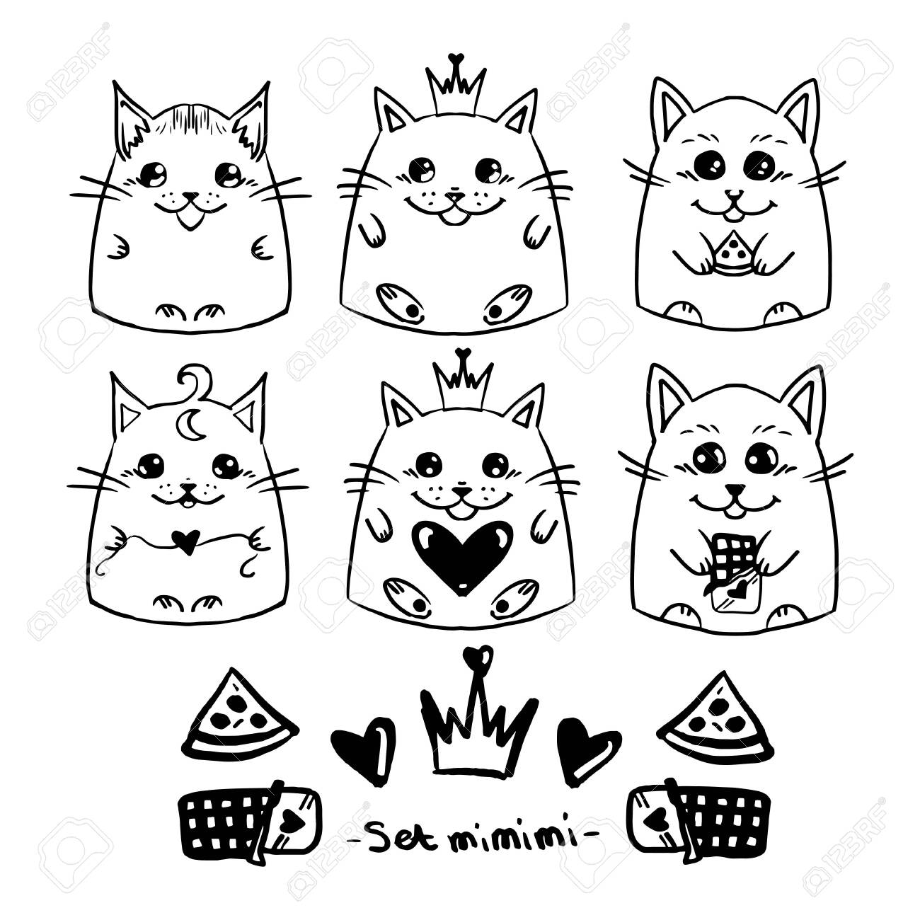 Set Cute Cats In Hand Drawn Style Girl Children Vector Doodle Royalty Free Cliparts Vectors And Stock Illustration Image 127142927