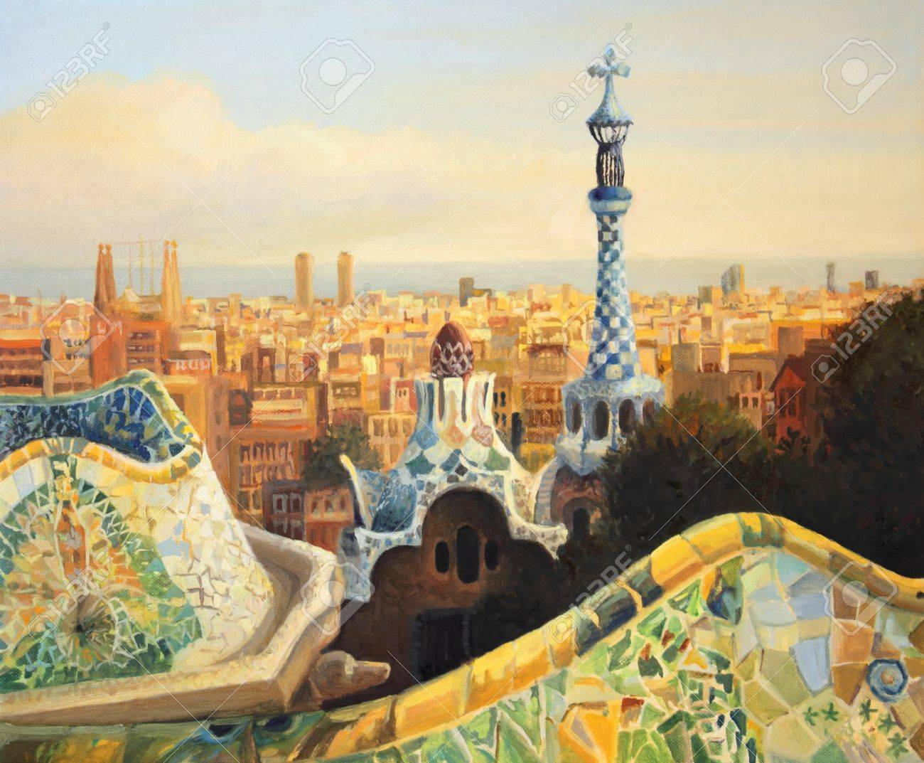 Barcelona, Park Guell terrace at dusk painted on the canvas by me Kiril Stanchev. Stock Photo - 15339621