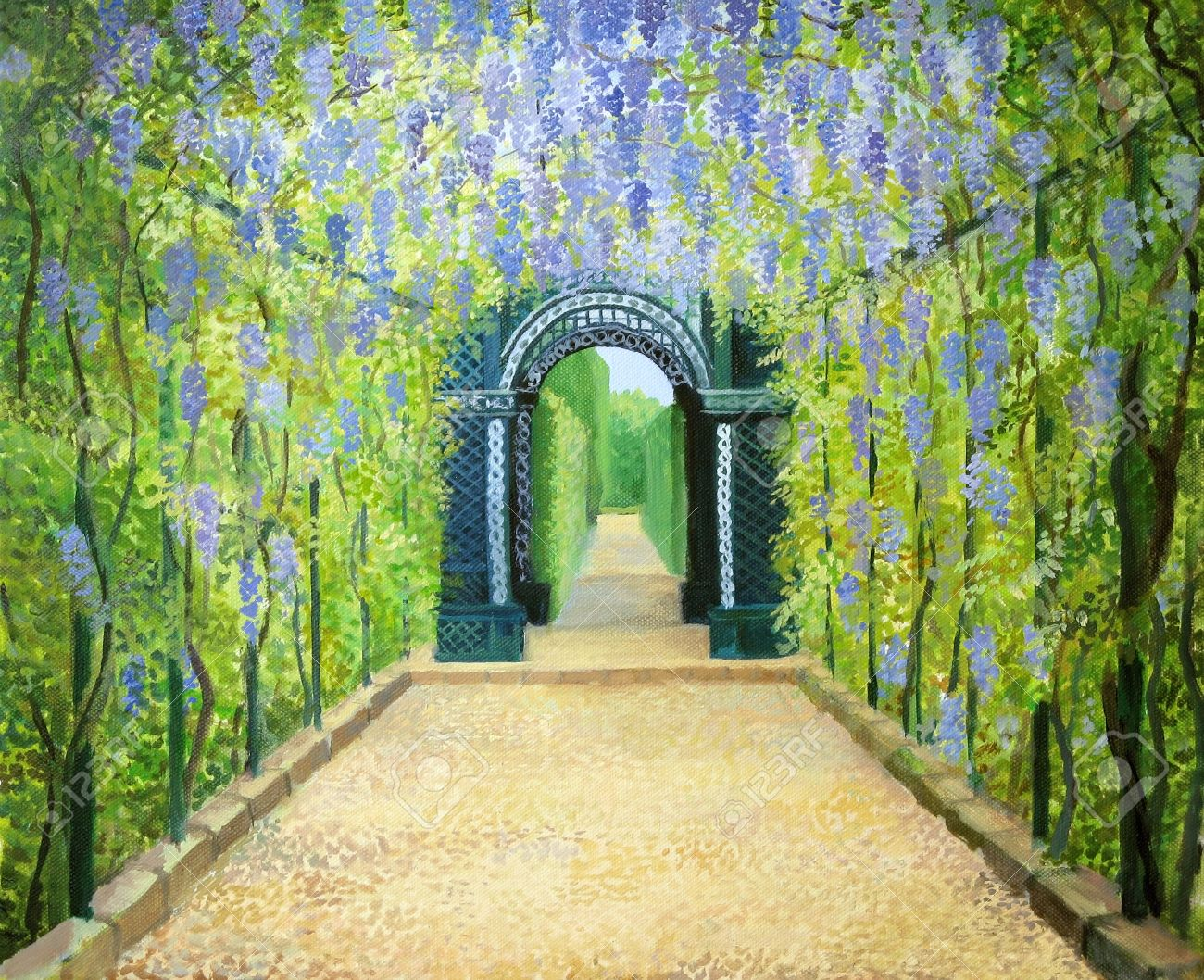 An Oil Painting On Canvas Of A Romantic Garden Walkway Forming ...