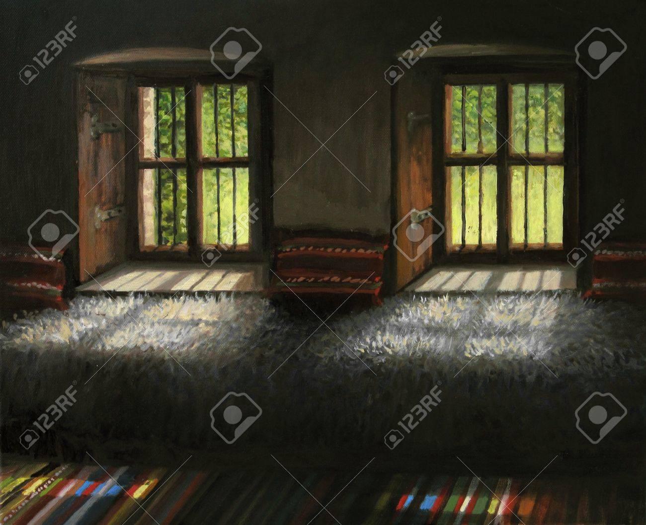 Ein Ölgemälde Auf Leinwand Von Einem Interior In Einem Der ...