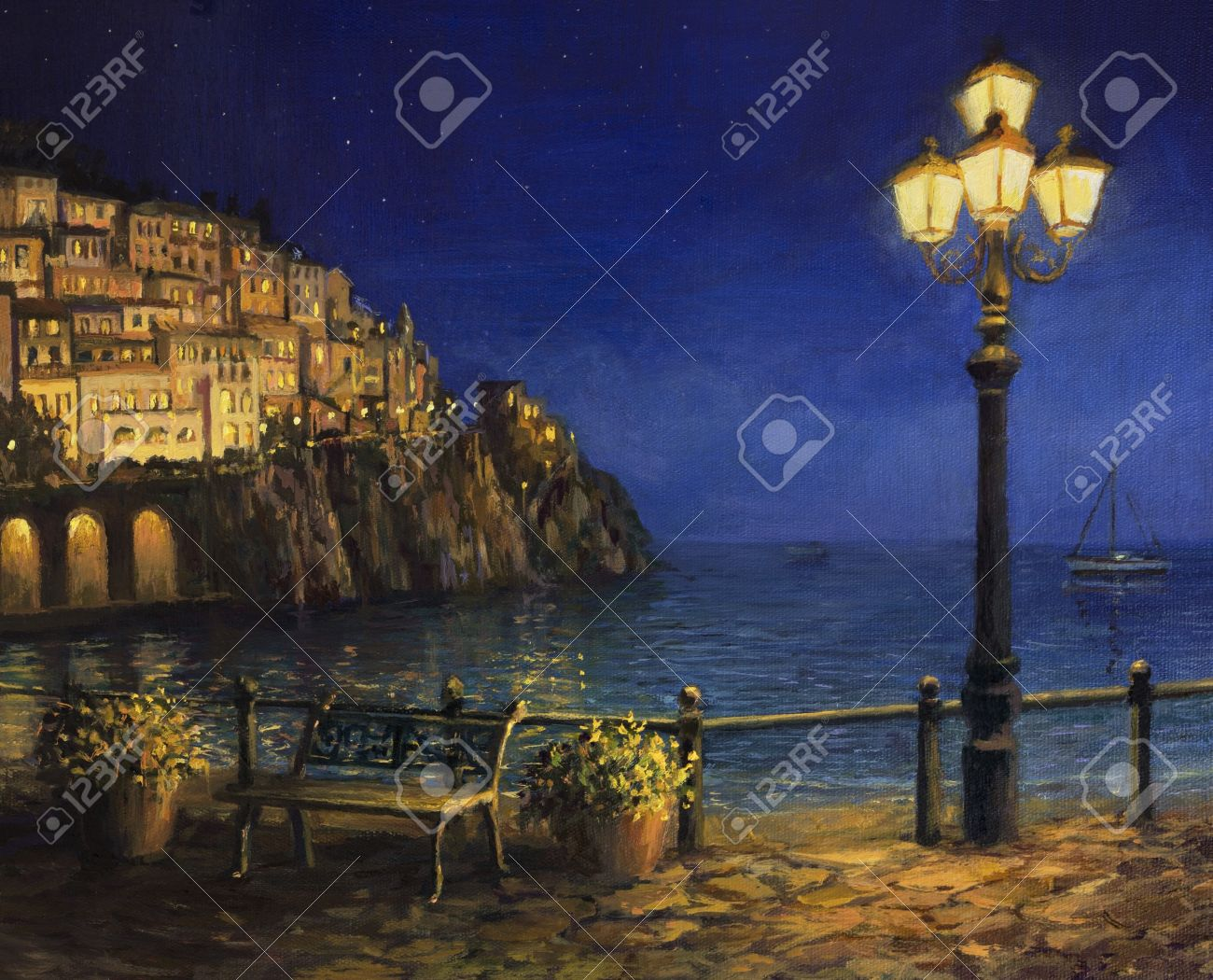 An Oil Painting On Canvas, Of A Starry Romantic Evening At The ... for Lamp Post Painting  17lplyp