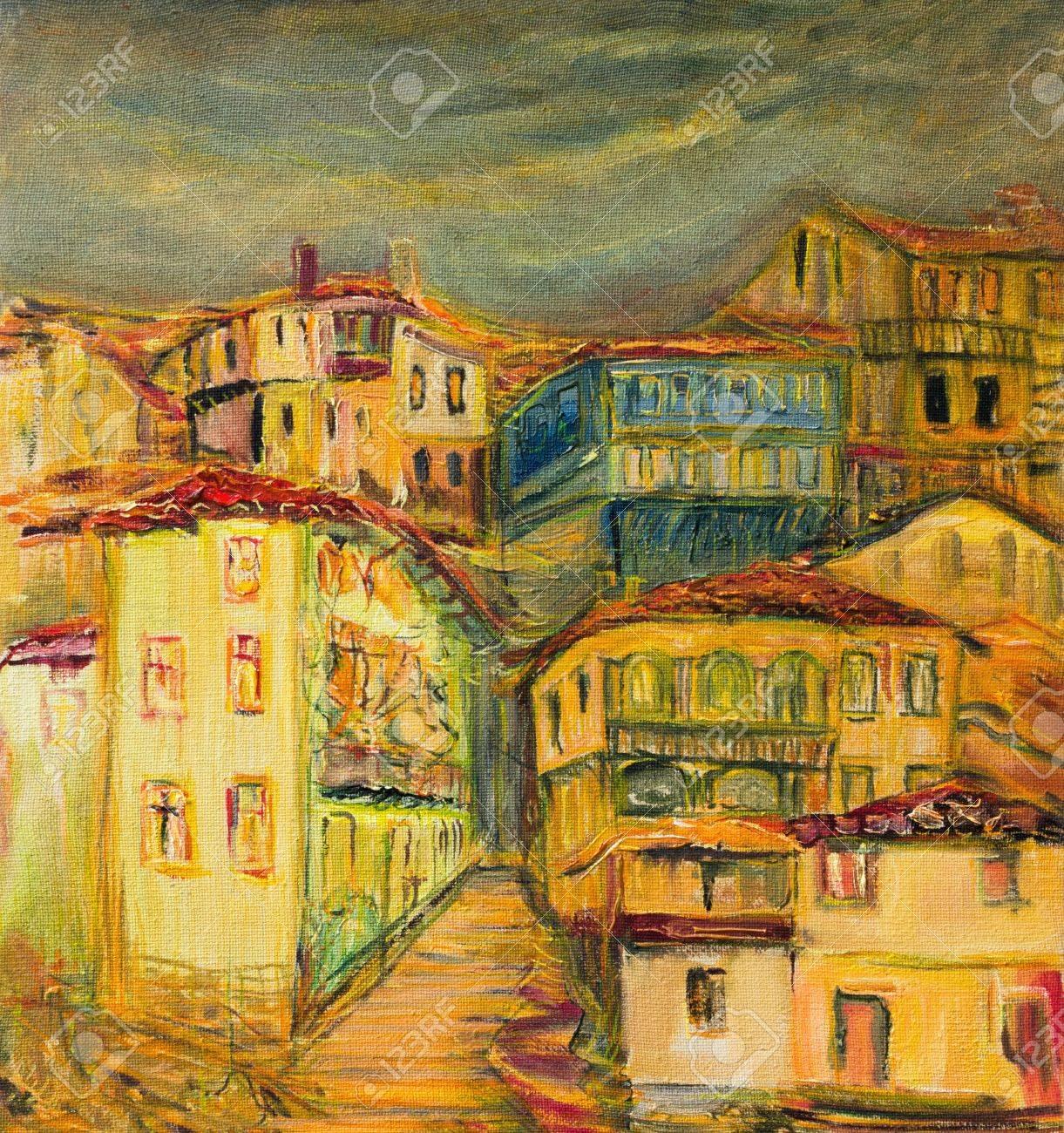 Une Peinture à L'huile Sur Toile De Vieilles