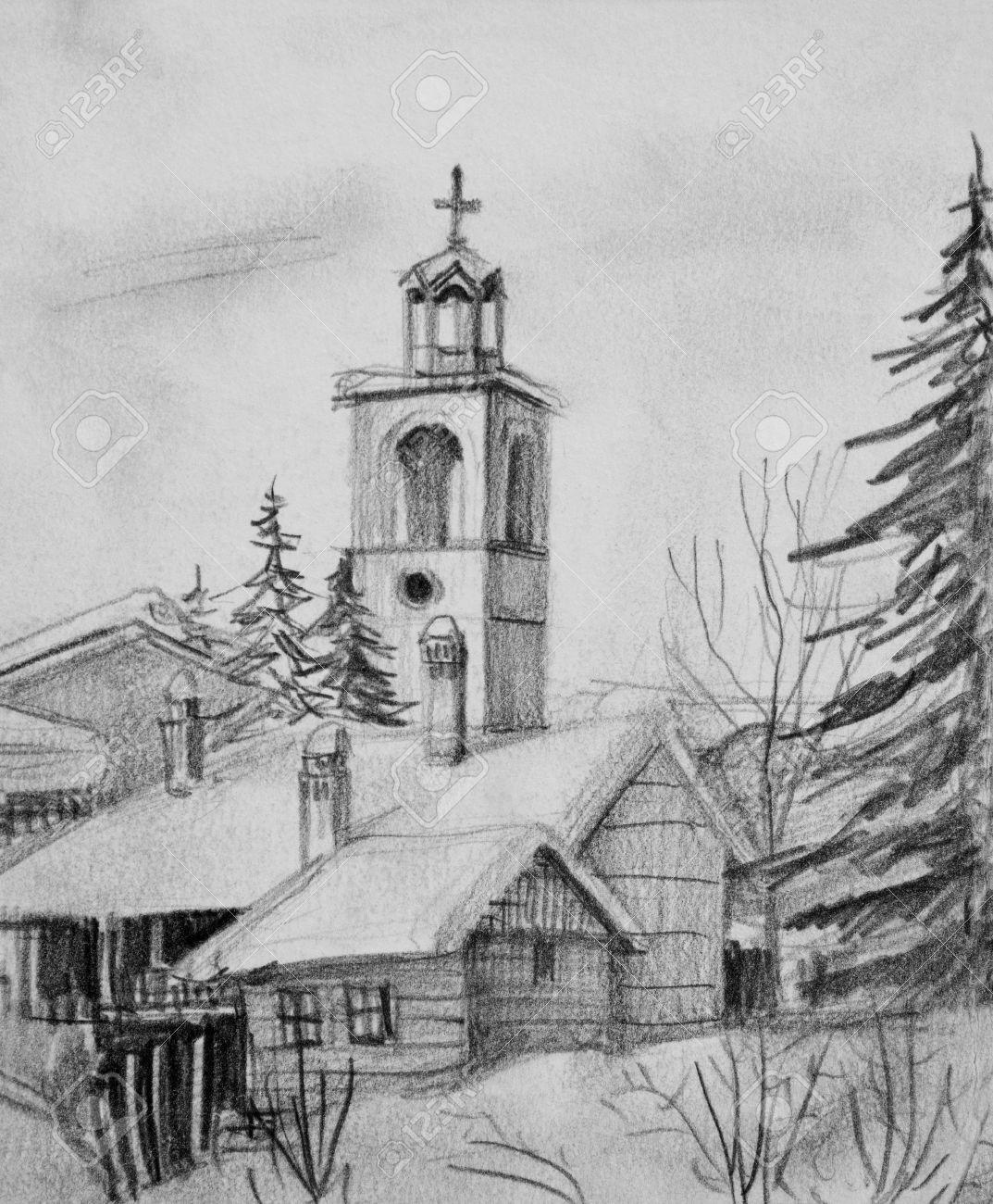 Dessin Au Crayon Noir Et Blanc D Une Vieille Eglise En Station De
