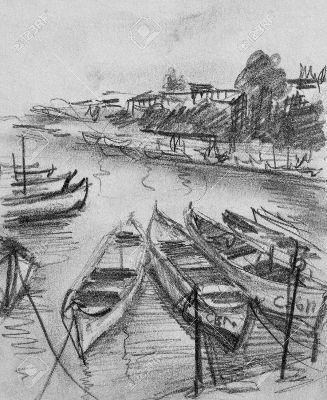 Dessin Au Crayon Noir Et Blanc Des Vieux Bateaux De Peche Flottant